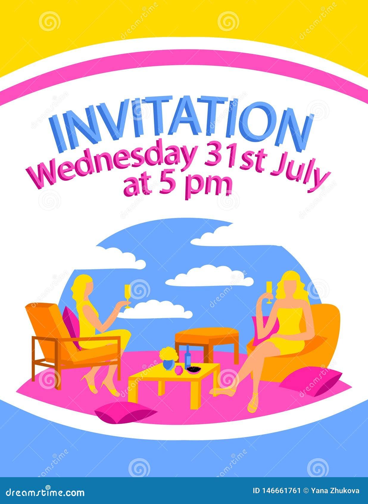Plakat karty miejsca kobiety feminizm pije przyjęcie projekta płaskiego kolorowego krzesła wina nieba poduszki sukni siedzącego a