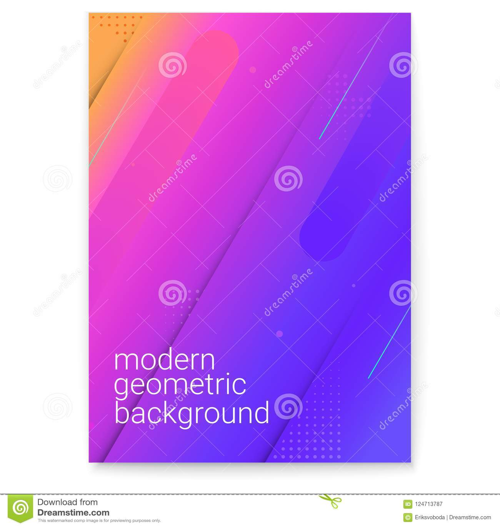 Plakat z nowożytnym gradientem i minimalistic grafika Pojęcie pokrywa z dynamicznymi kształtami Wektorowy tło dla
