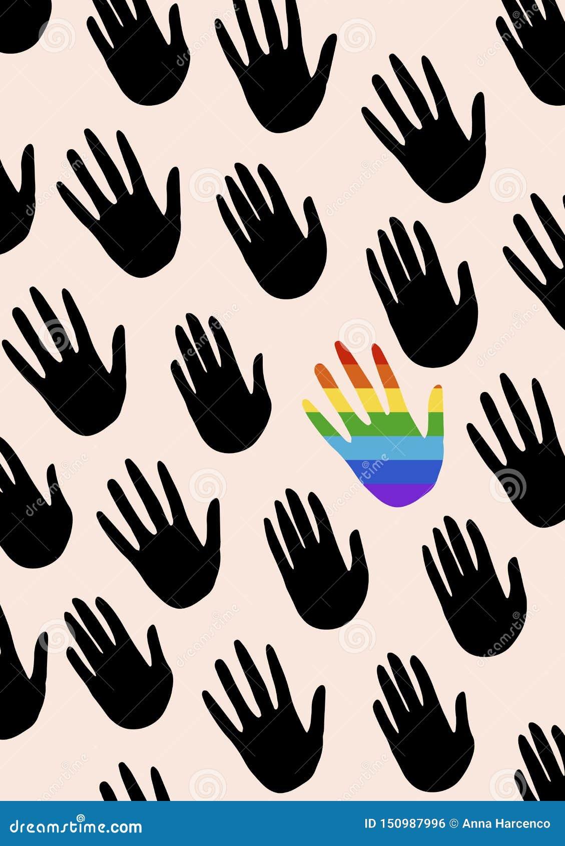 Plakat z rękami i mówić o równouprawnieniu płci Flaga widmo duma, homoseksualność embl