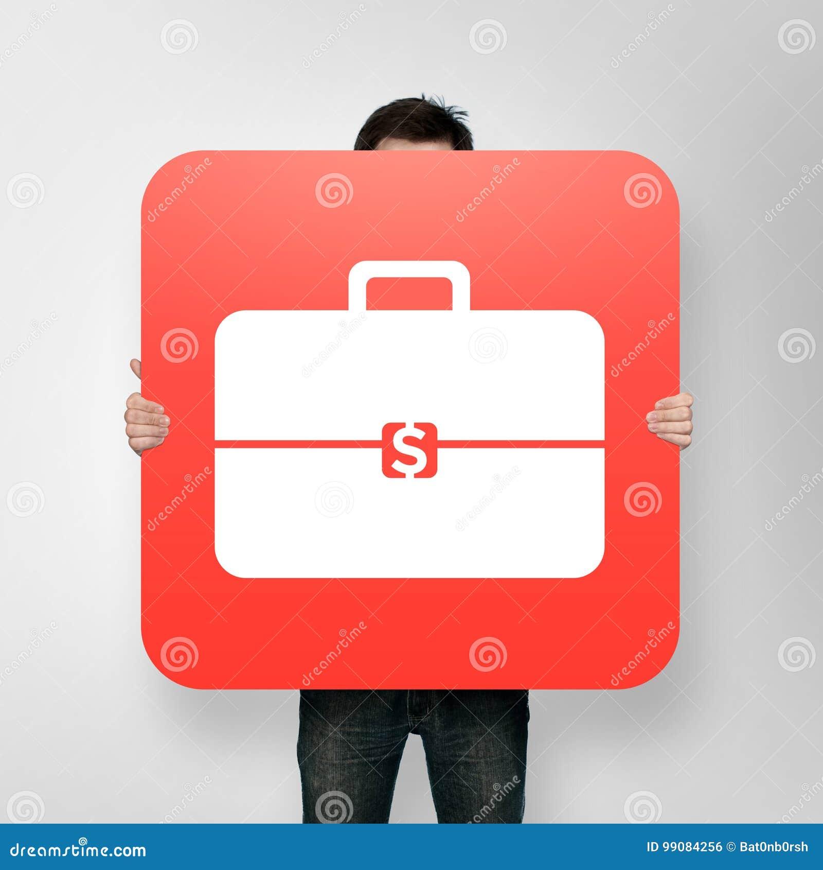 Plakat Z Teczki Ikoną Zdjęcie Stock Obraz Złożonej Z