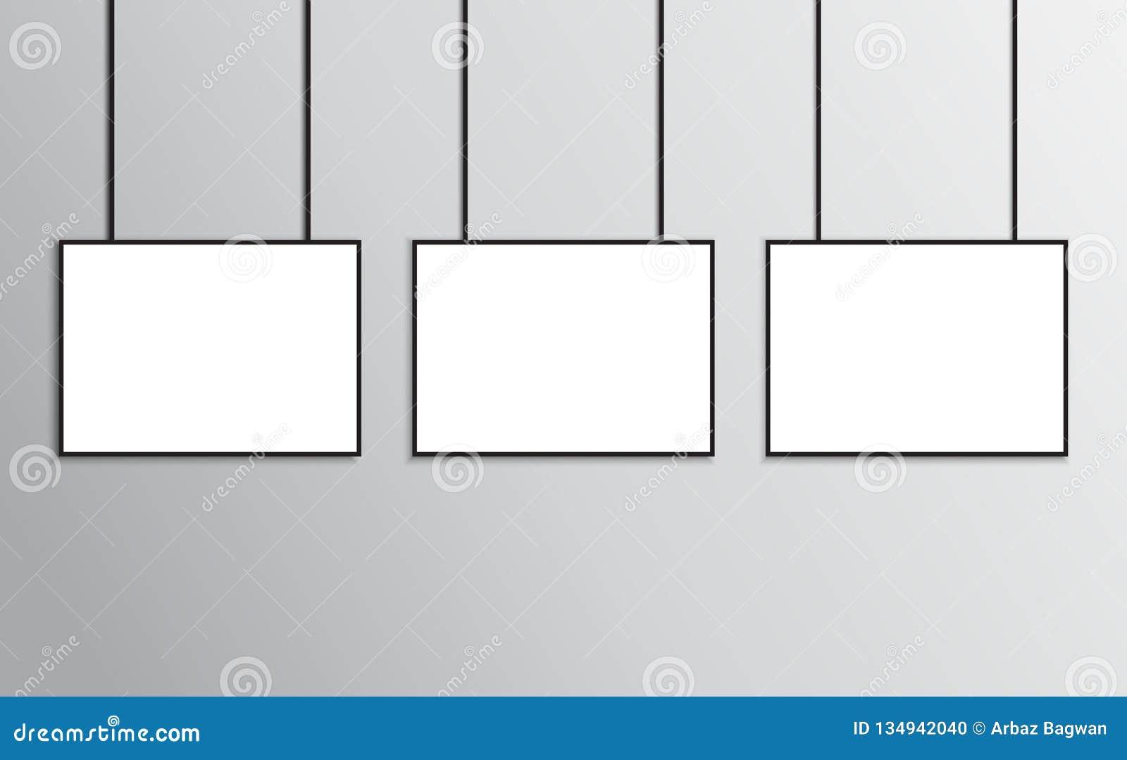 Plakata mockup czerni rama w A4 rozmiaru krajobrazu orientacji