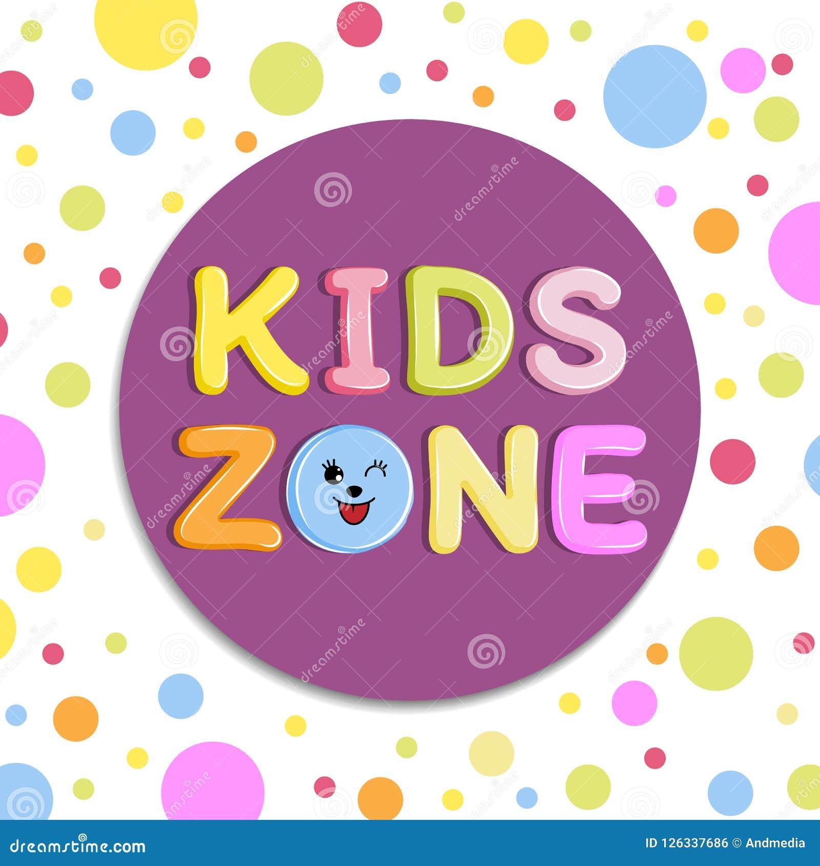 Plakatowi dzieciaki dzielą sztandar, emblemat lub loga w kreskówka stylu z barwionym tłem,