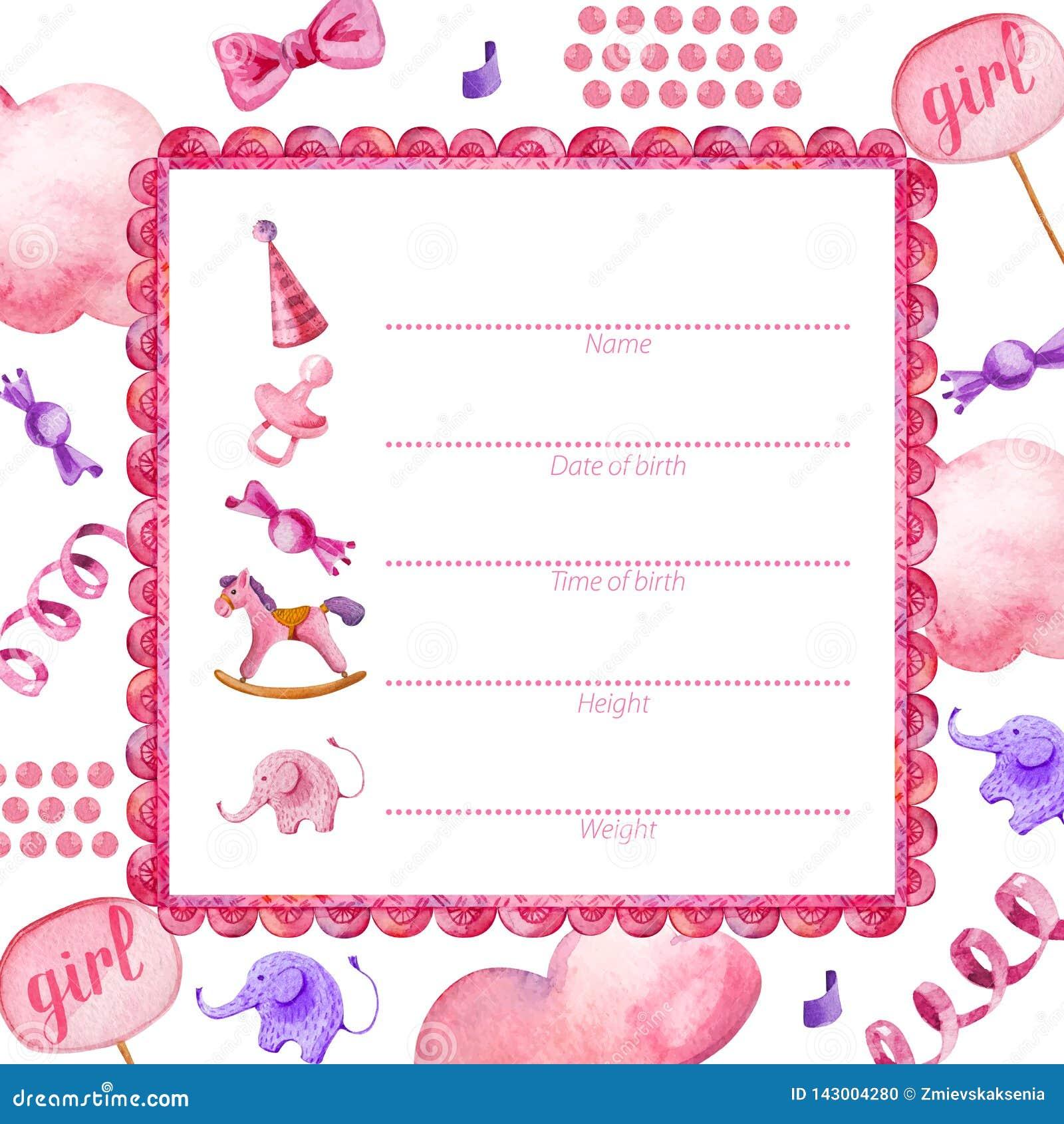 Plakatschablone für neugeborenes Baby girl_Baby Dusche