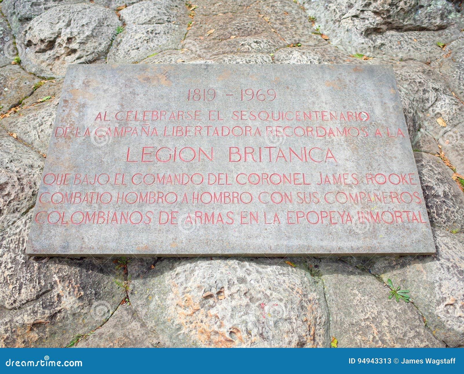 Plakieta dedicted Brytyjska legia która pomóc Simin bolivara ` s wojska wygrywać niezależność dla Kolumbia przy Puente De Boyaca