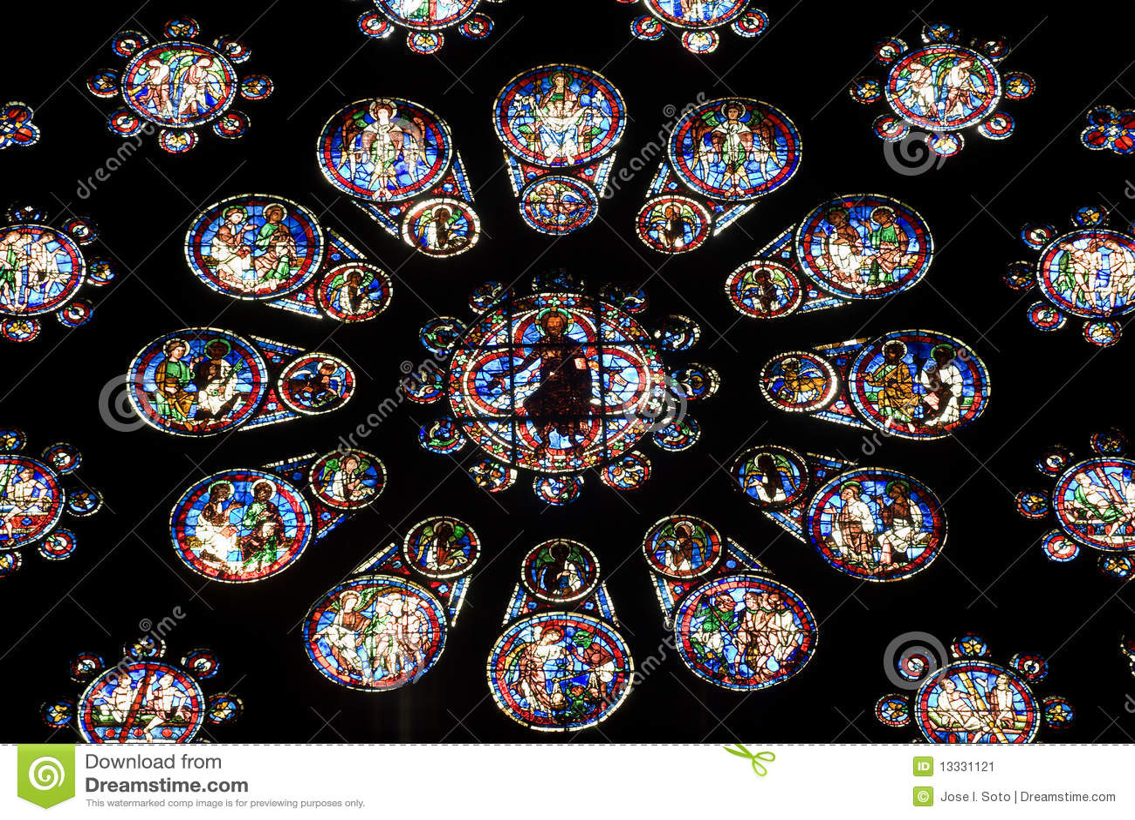 Plamiący Chartres katedralny szkło
