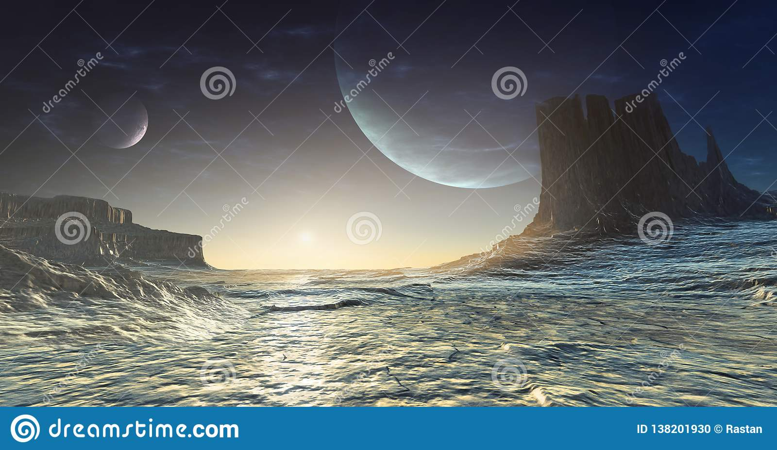 Planète étrangère glaciale