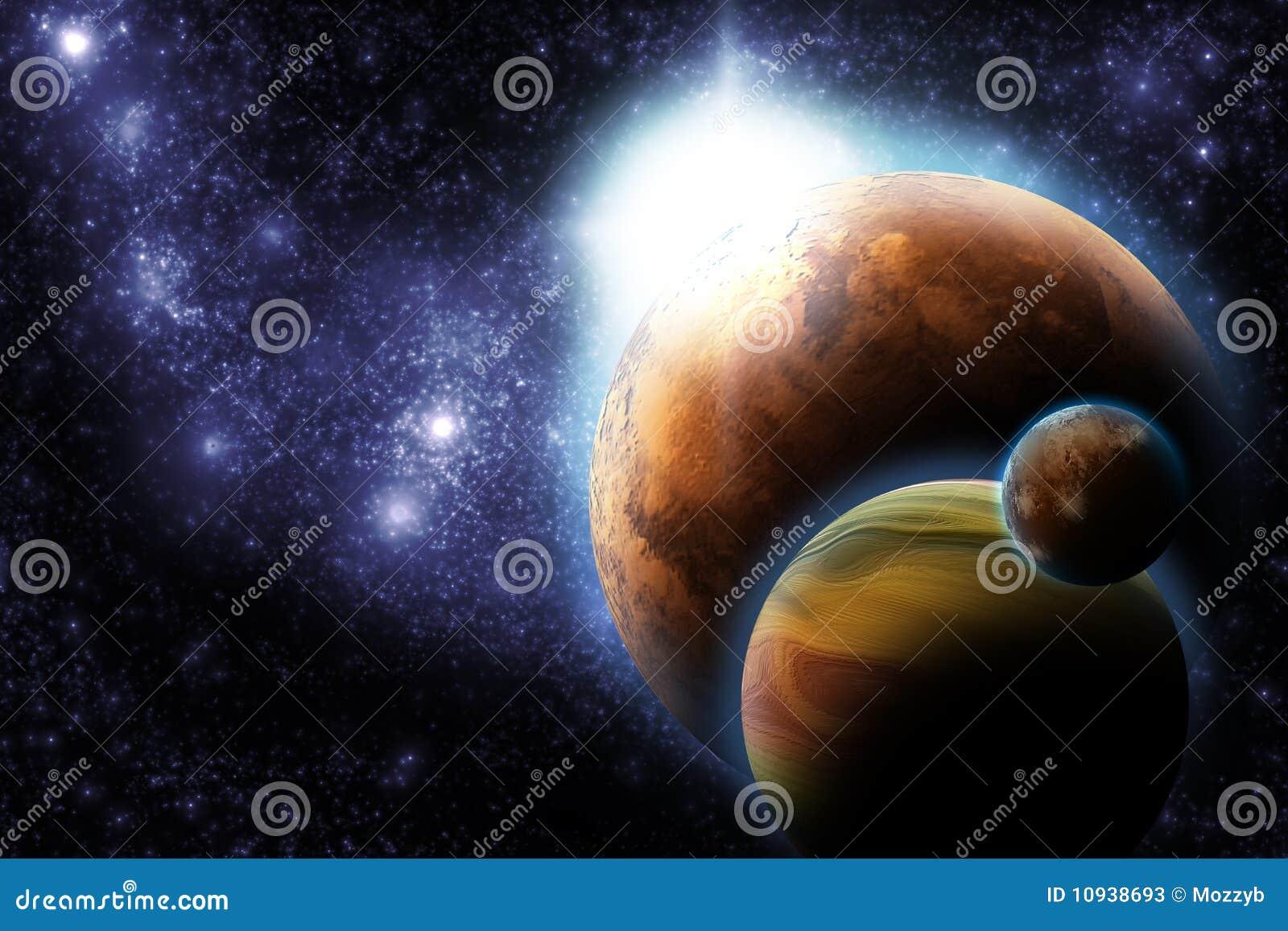 Planète abstraite avec l épanouissement du soleil dans l espace lointain