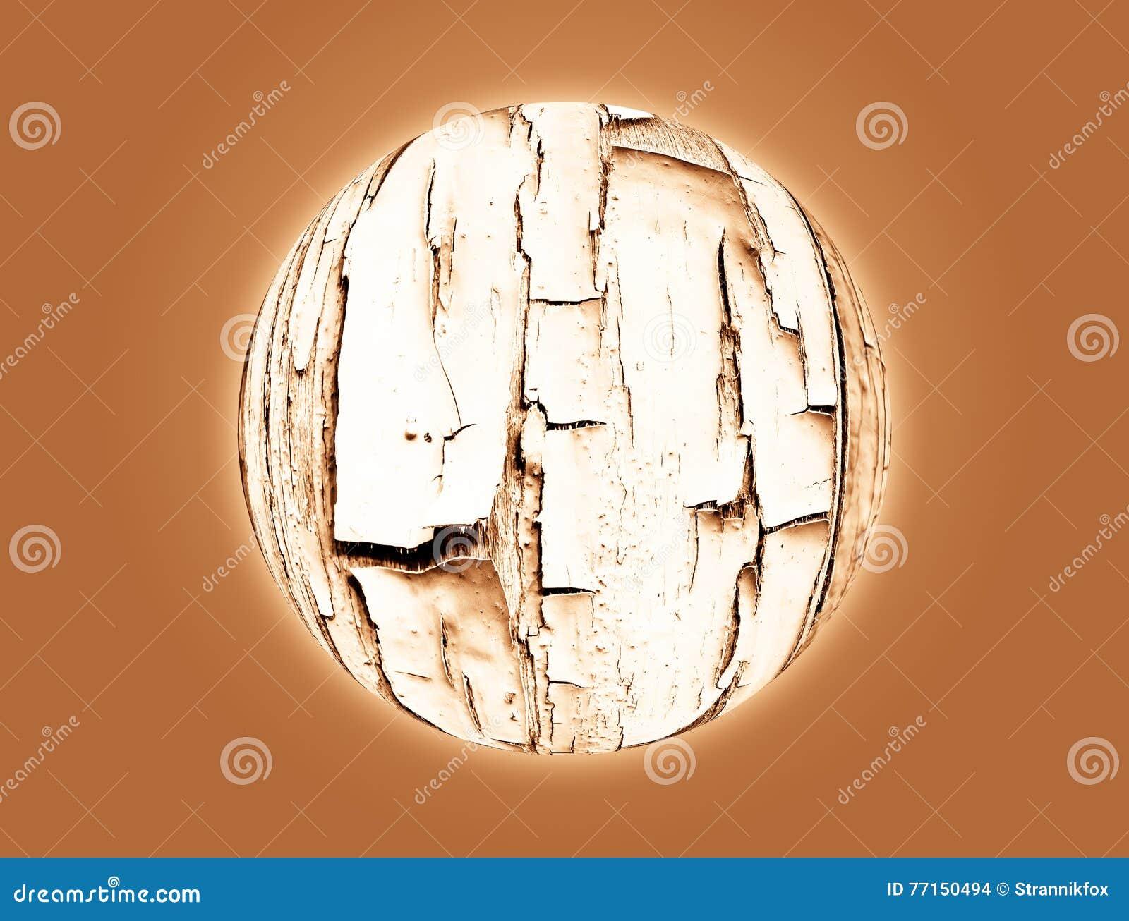 Planète avec le fragment de la vieille surface en bois pour le fond Colla