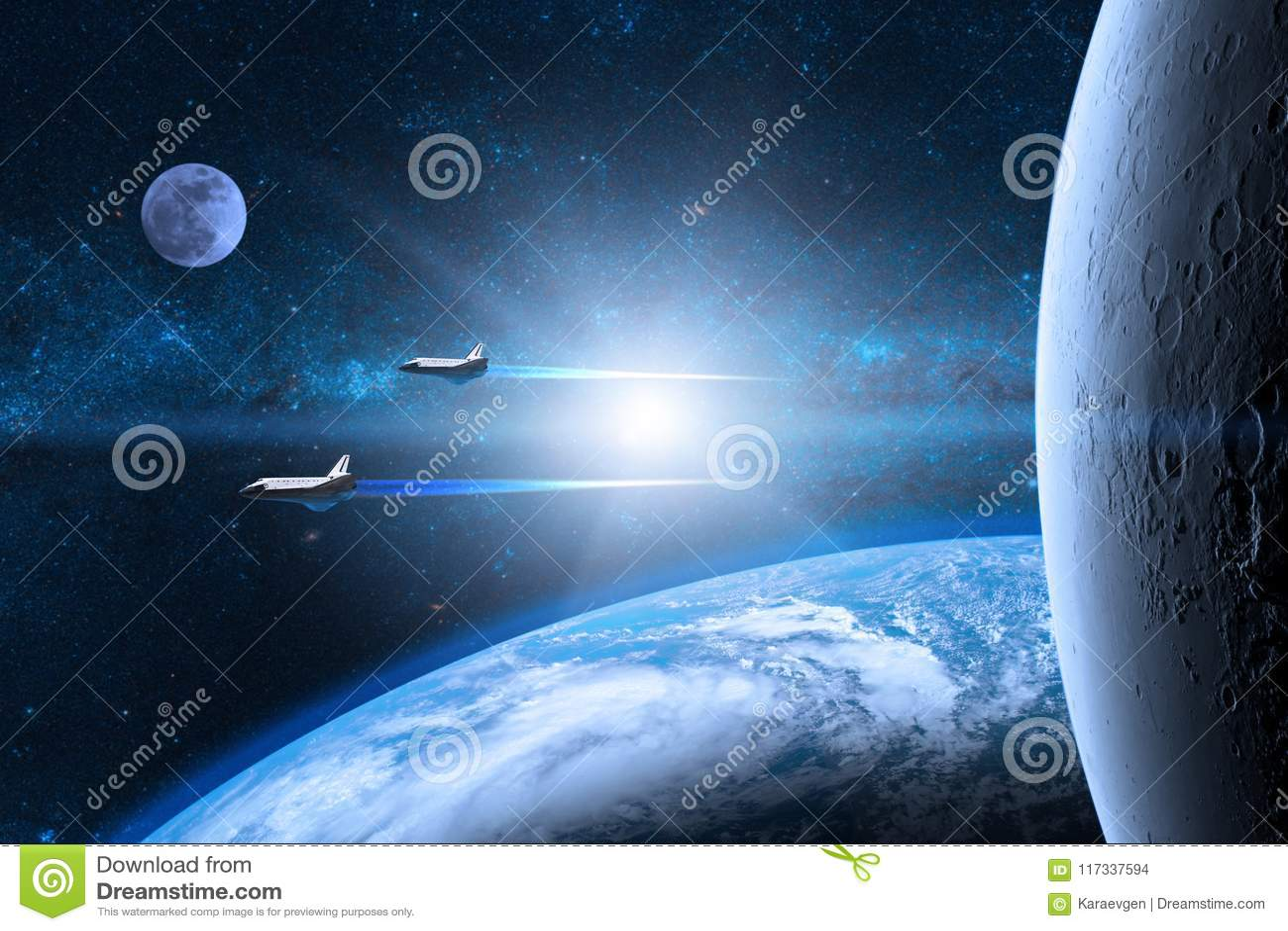 Planète bleue de la terre Navettes spatiales décollant sur une mission