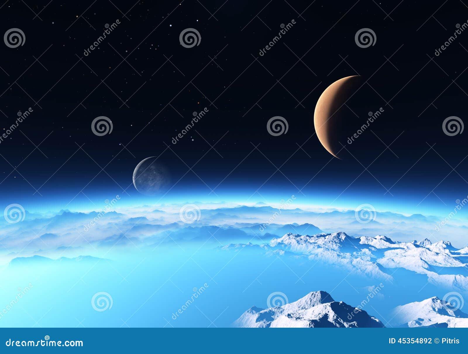 Download Planète De Glace Avec Une Lune Illustration Stock - Illustration du élément, complexe: 45354892