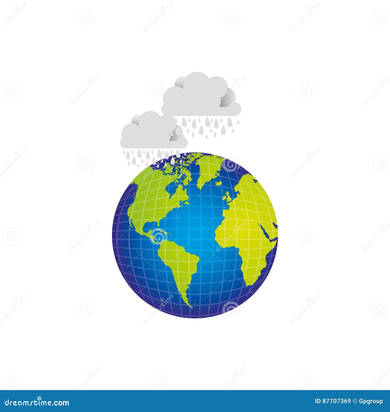 Planète de la terre avec des nuages rainning l icône