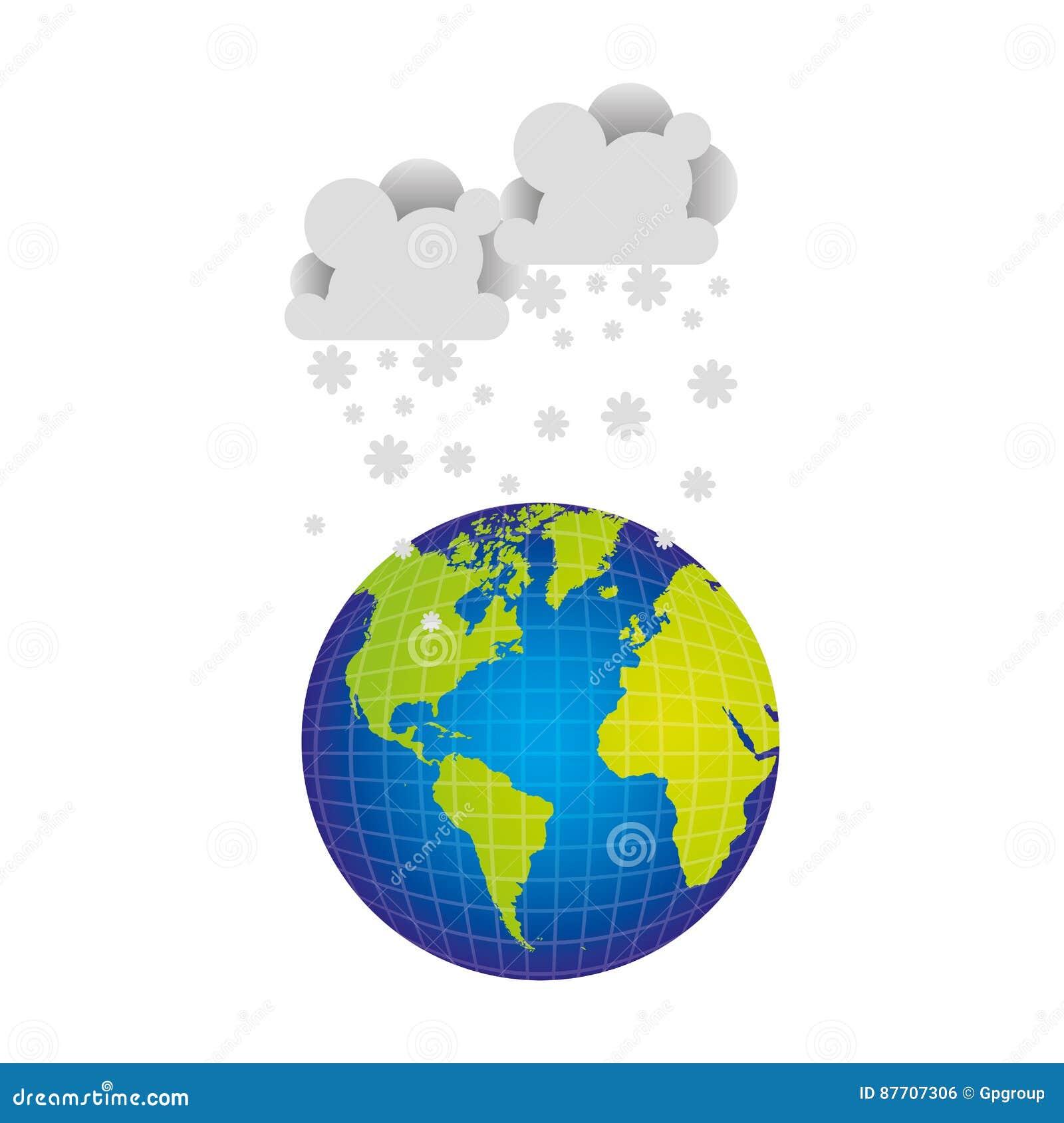 Planète de la terre avec l icône de neige de nuages