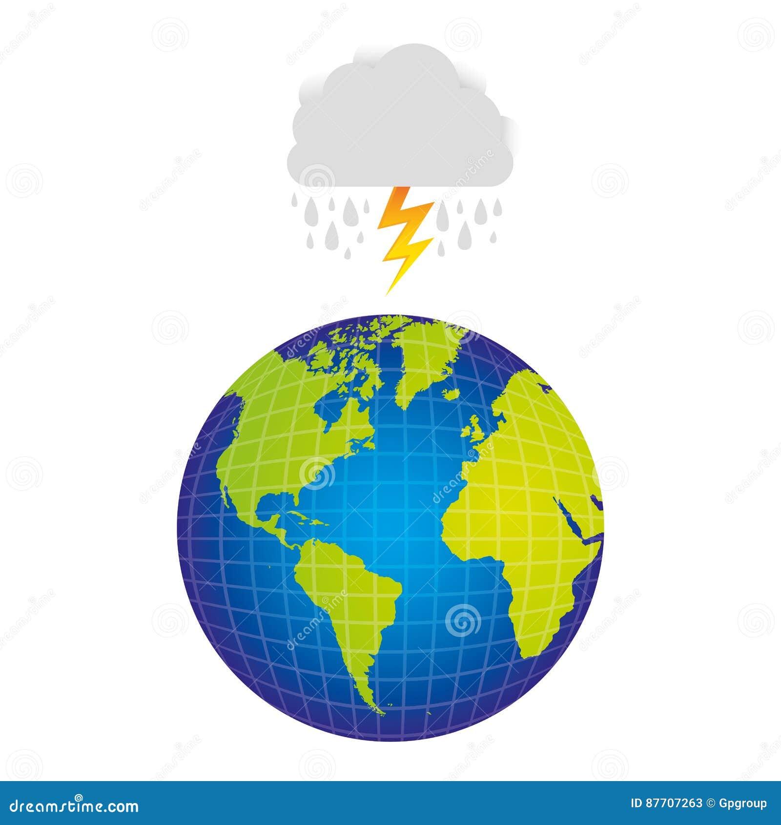 Planète de la terre avec rainning et rayon de nuage