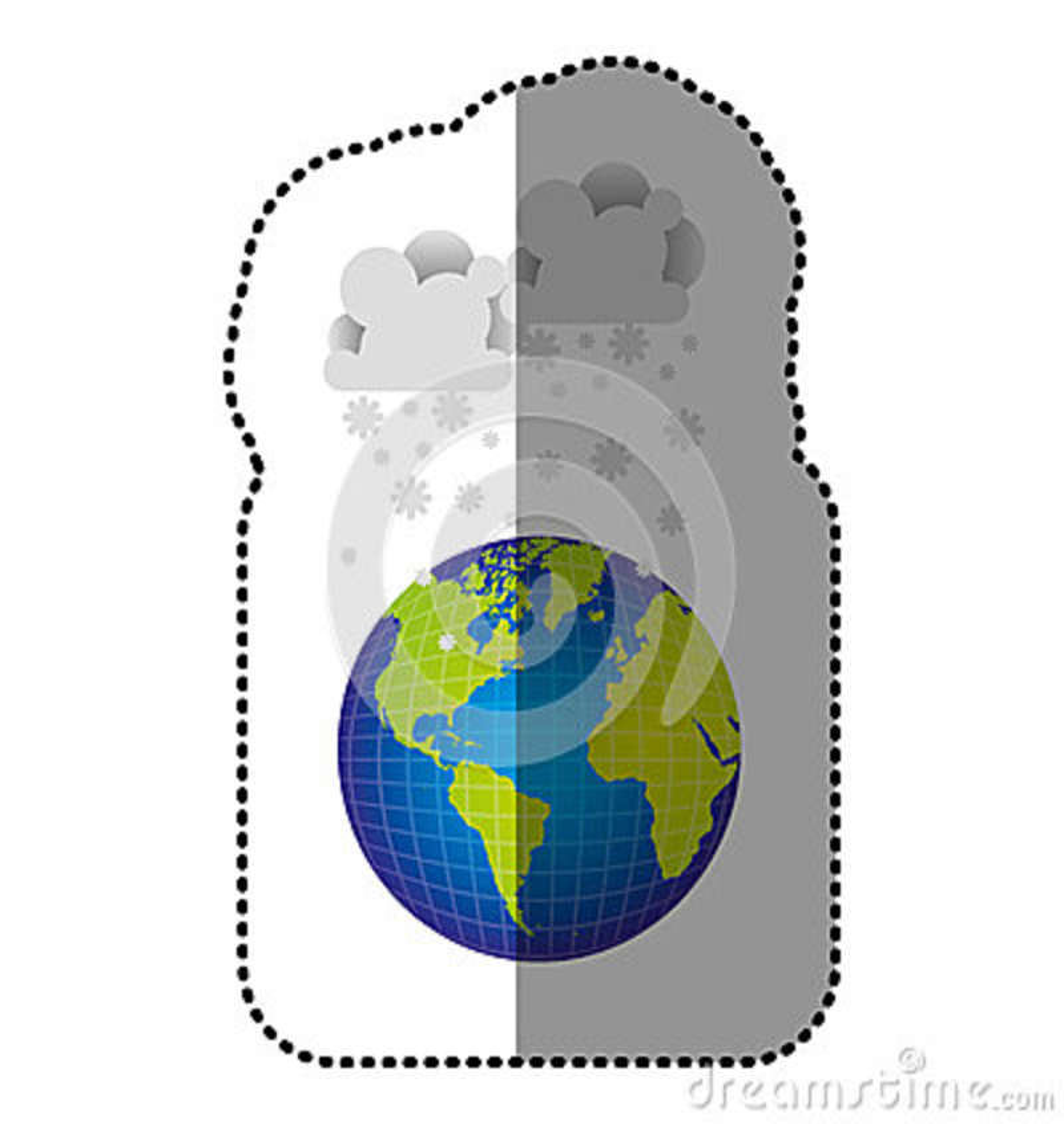 Planète de la terre de couleur avec l icône de neige de nuages