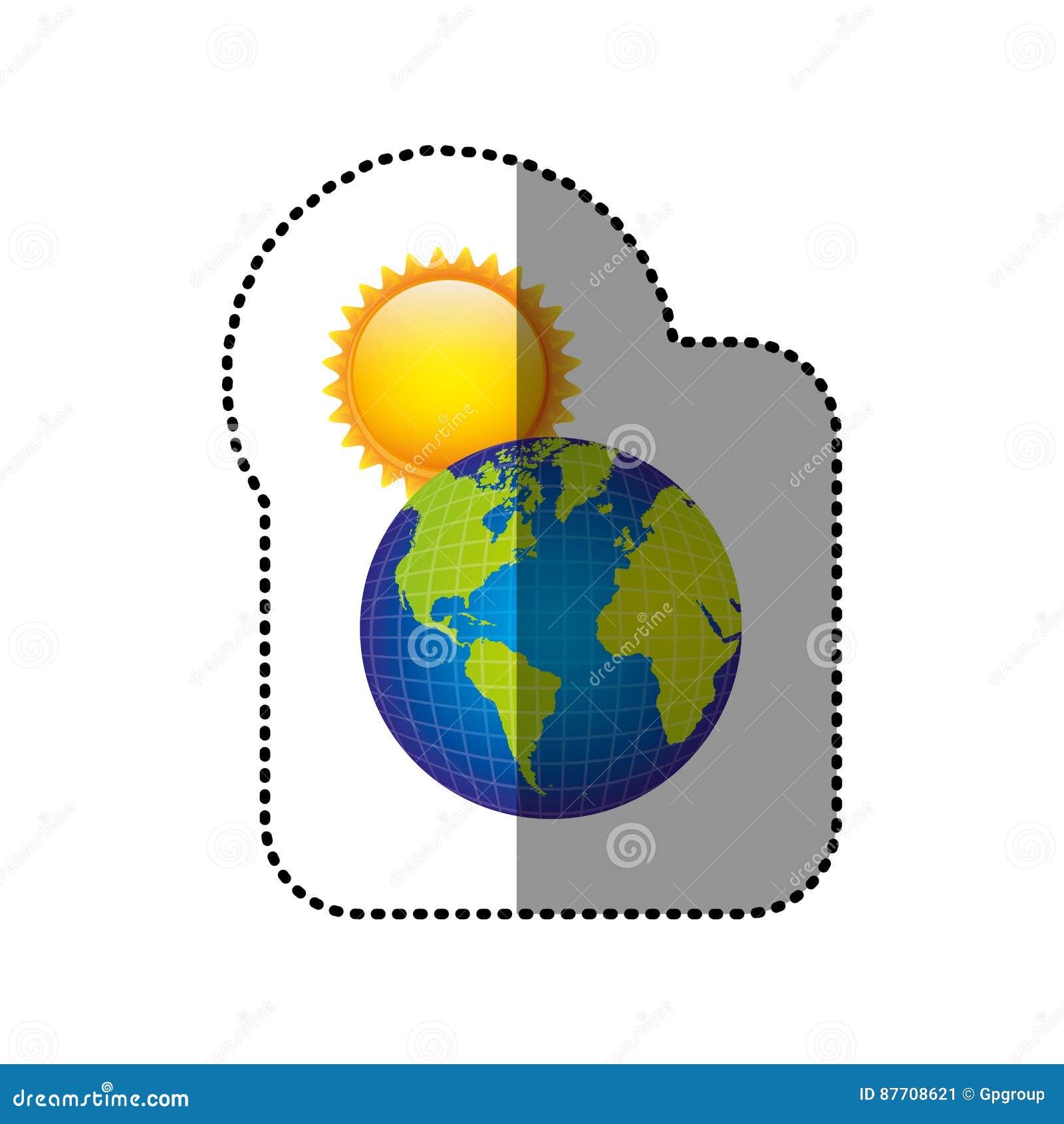 Planète de la terre de couleur avec l icône du soleil