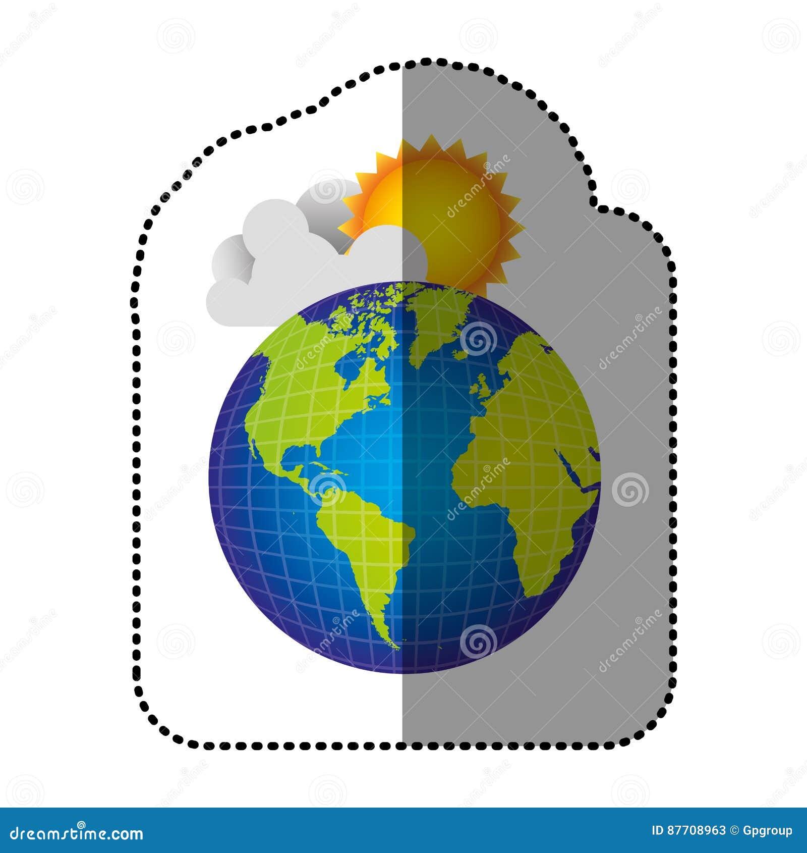 Planète de la terre de couleur avec le nuage et le soleil