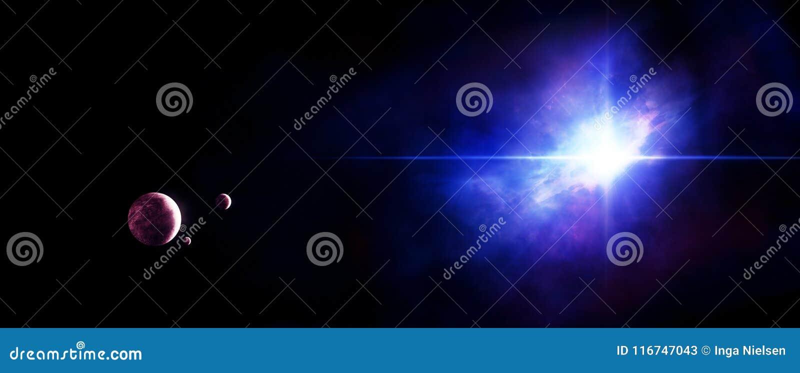 Planètes avec l étoile et la nébuleuse