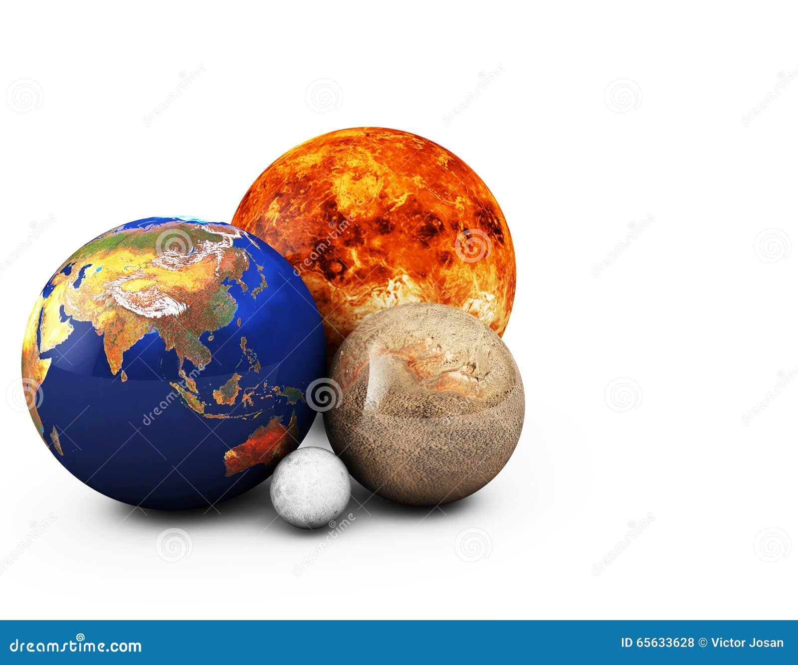 Planètes 3D à l arrière-plan blanc