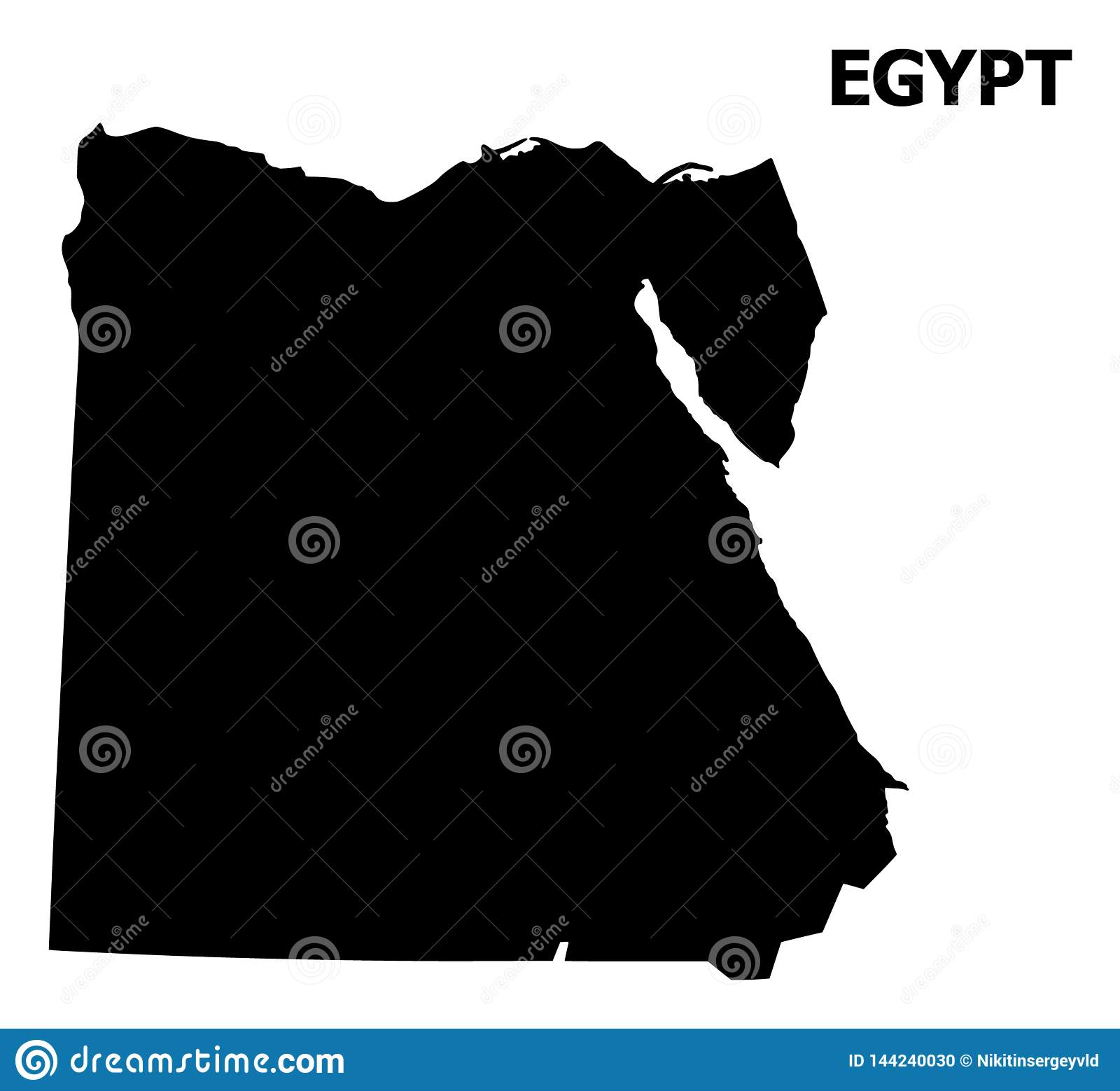 Plan översikt för vektor av Egypten med namn