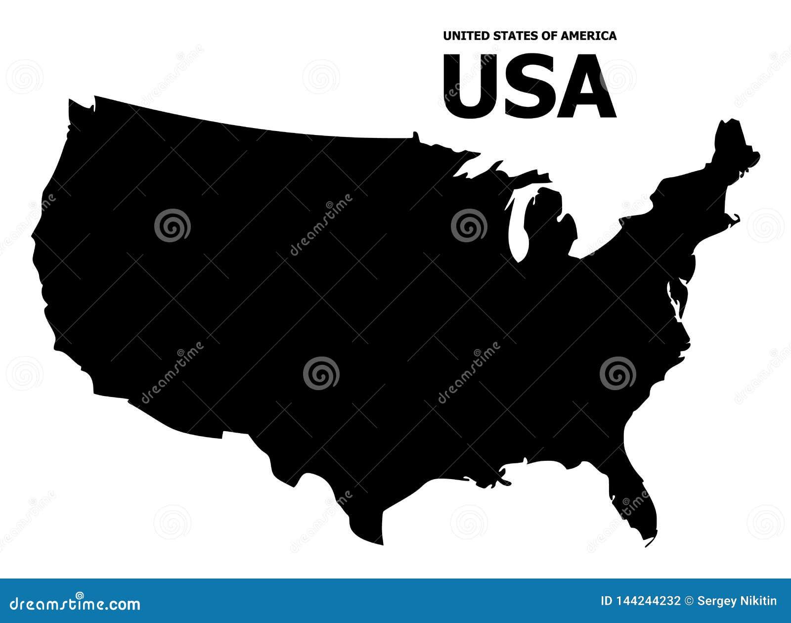Plan översikt för vektor av USA med överskrift