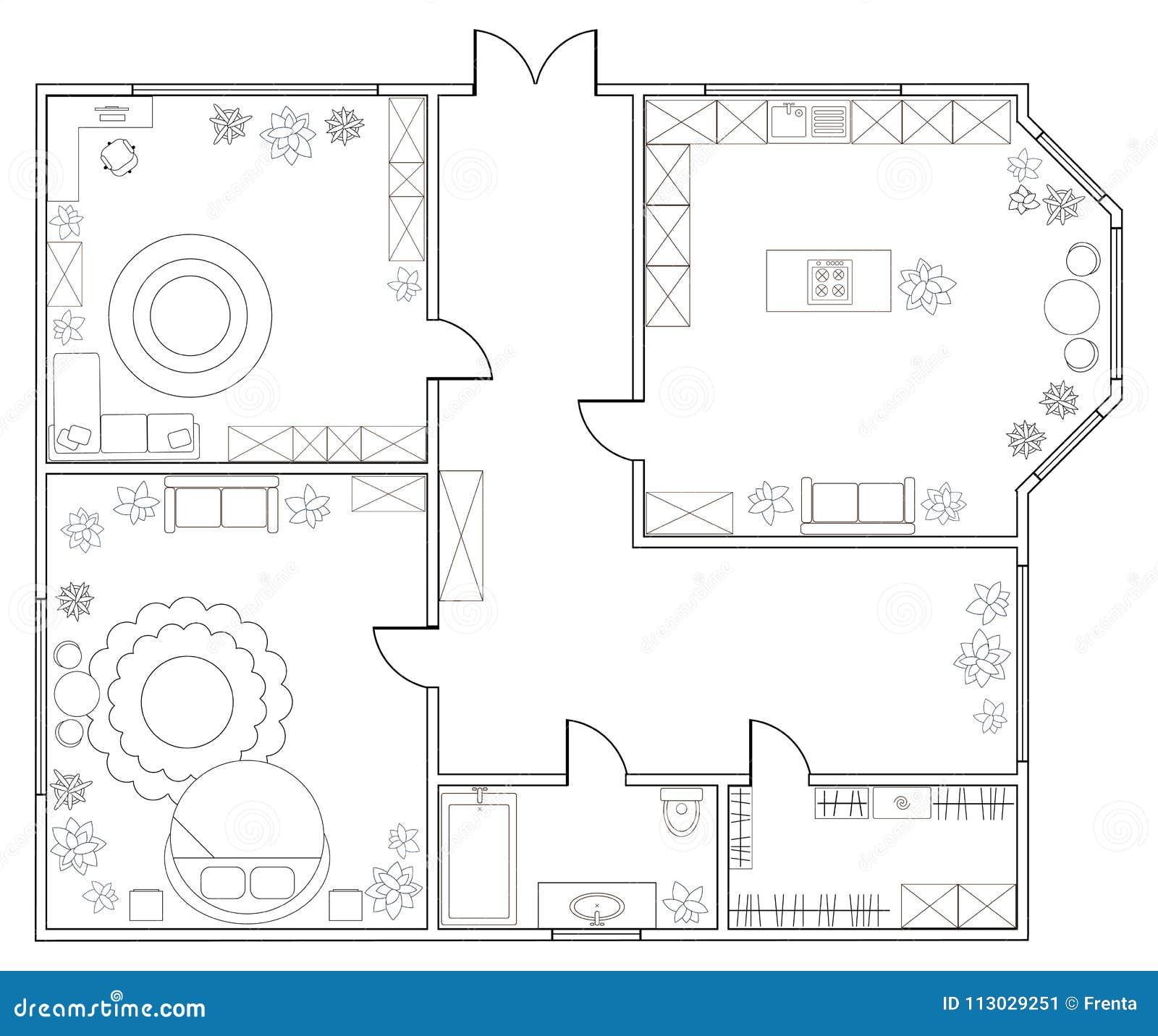 Plan abstracto del vector del apartamento de una habitación