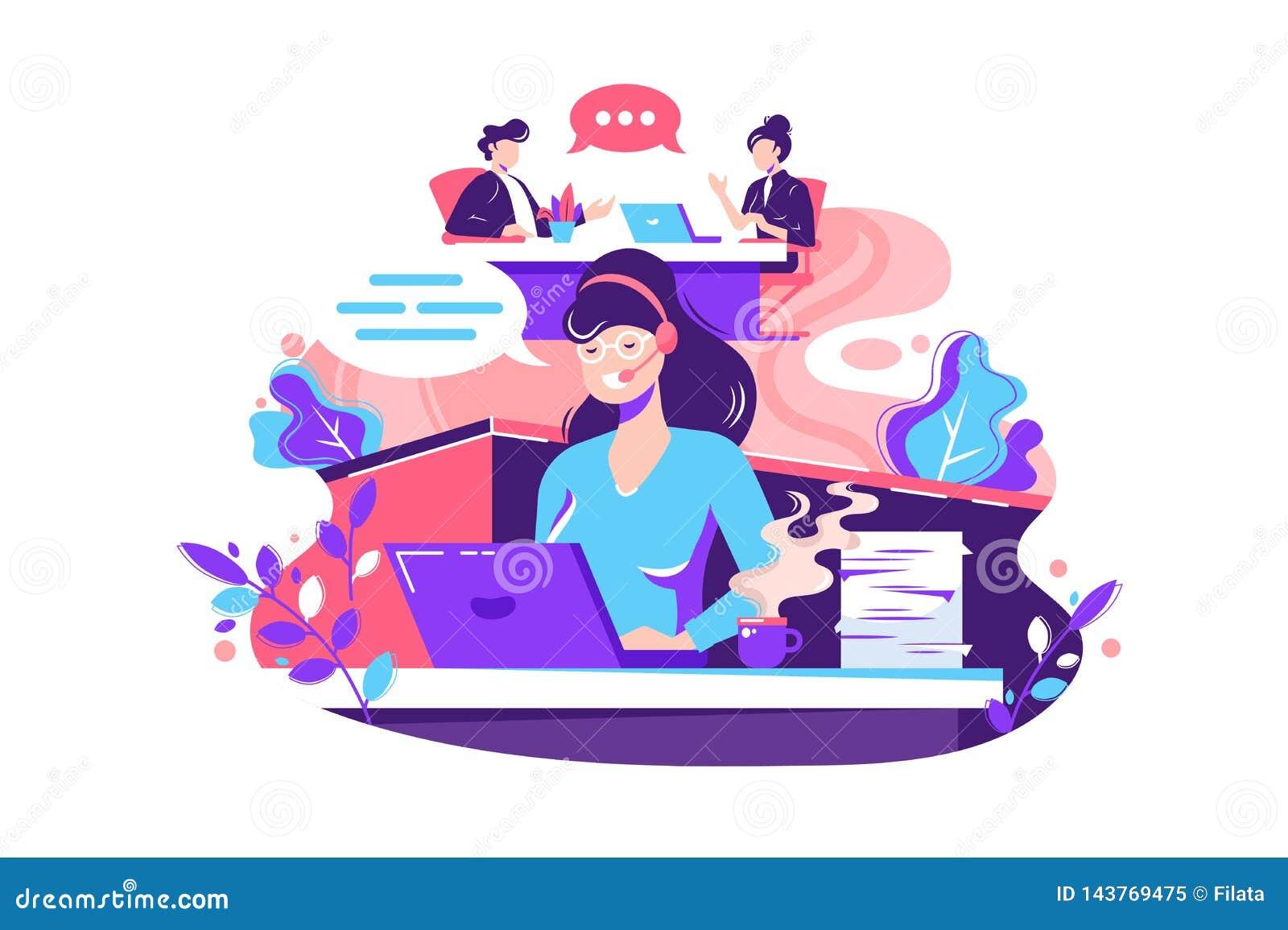 Plan anställd för den unga kvinnan kallar inom kontor