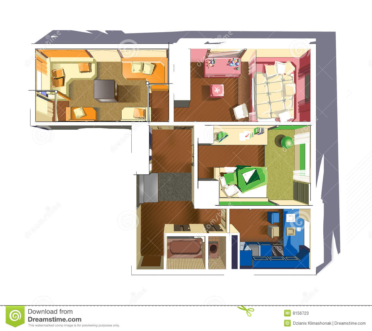 Plan of apartment stock photos image 8156723 for Apartment stock plans