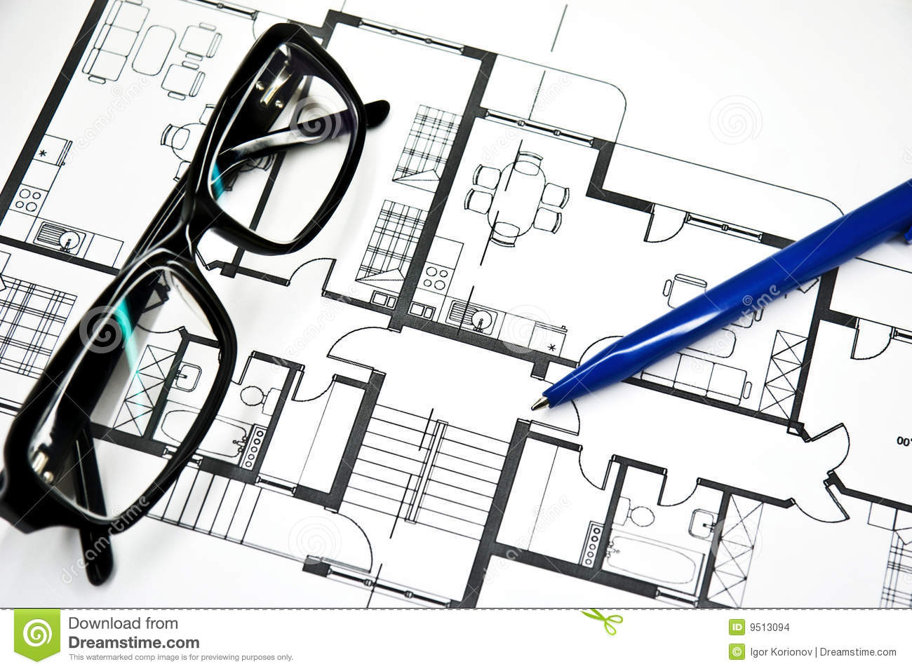 Plan of apartment with pencil and glasses stock images for Apartment stock plans