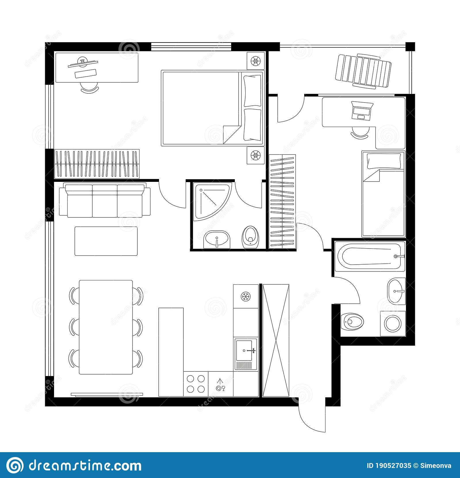 Plan Apartment Two Bedroom Layout Floor Plan Stock Vector Illustration Of Kitchen House 190527035