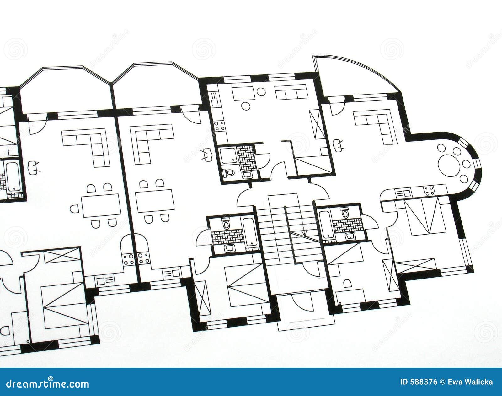 plan architectural image libre de droits image 588376. Black Bedroom Furniture Sets. Home Design Ideas