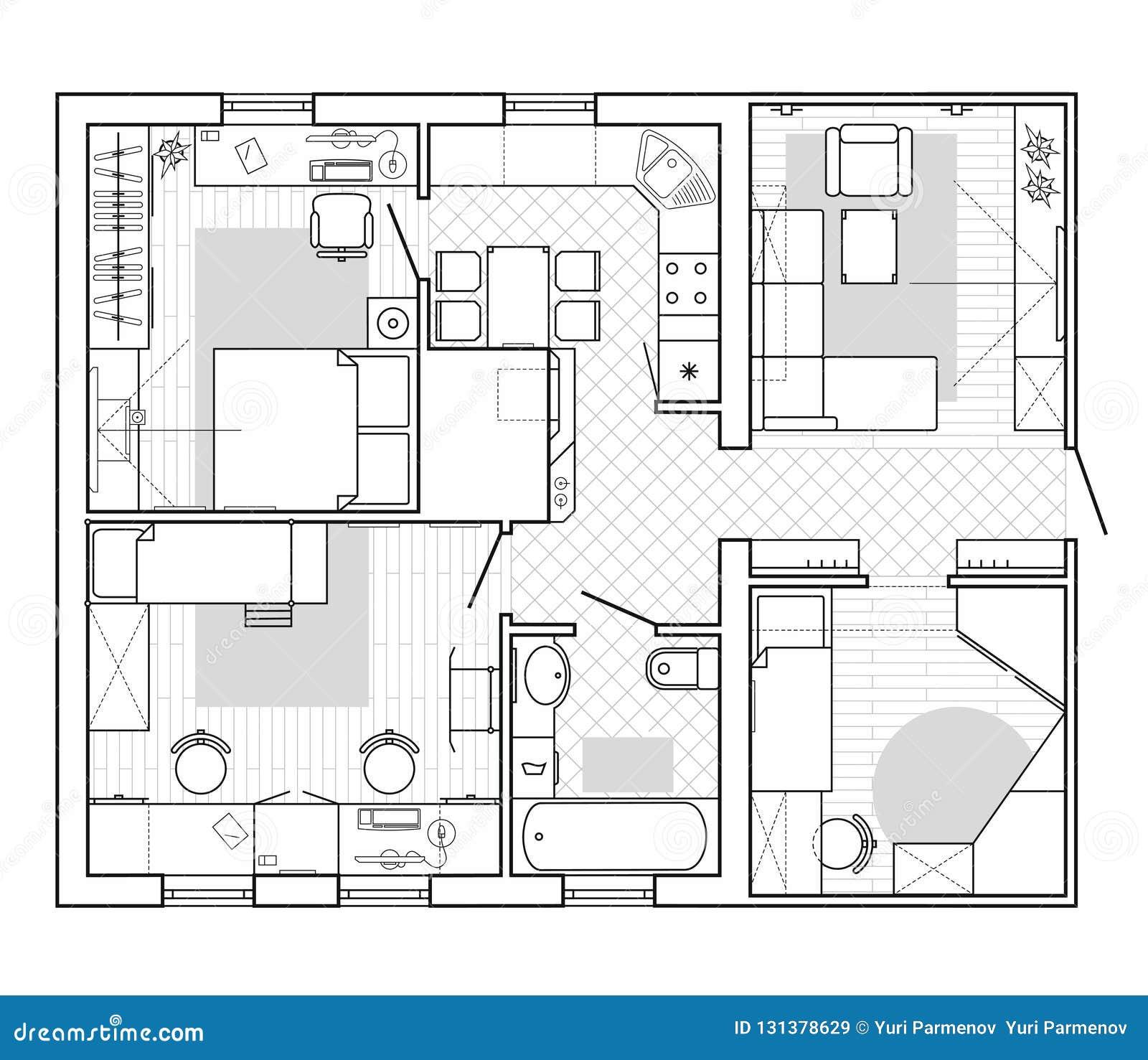 Plan Architectural D'une Maison Plan D'étage De L'appartement Avec Les Meubles Illustration de ...
