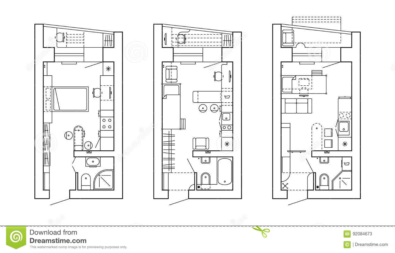 plan architectural d 39 une maison disposition de l 39 appartement avec les meubles dans la vue de. Black Bedroom Furniture Sets. Home Design Ideas