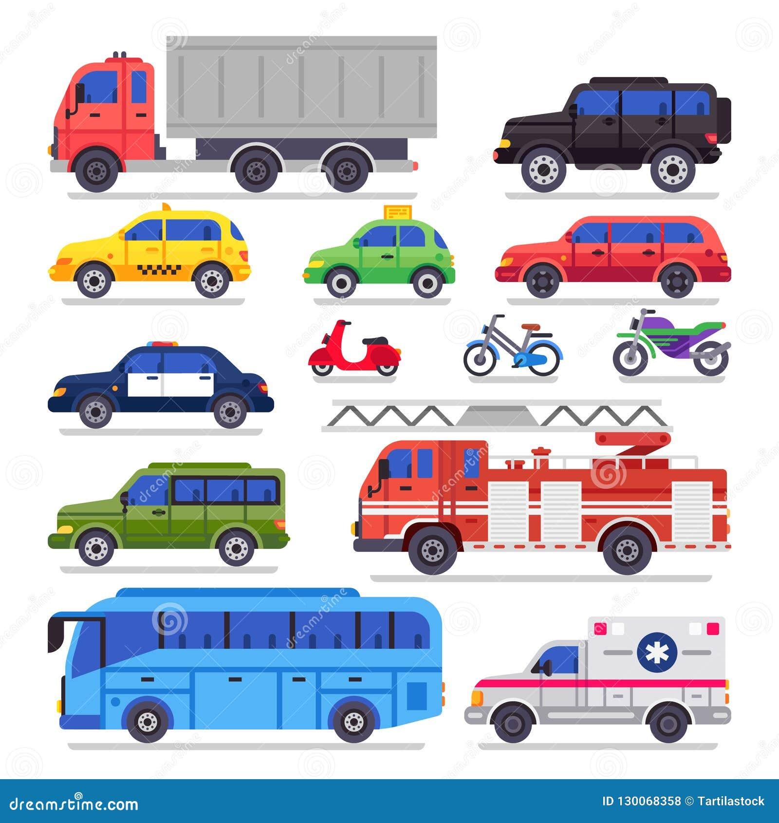 Plan automatisktransport Bil, cykel och motorcykel för stadsväg Ambulansbilen, brandmotorn och stadbiltransportbussen isolerade