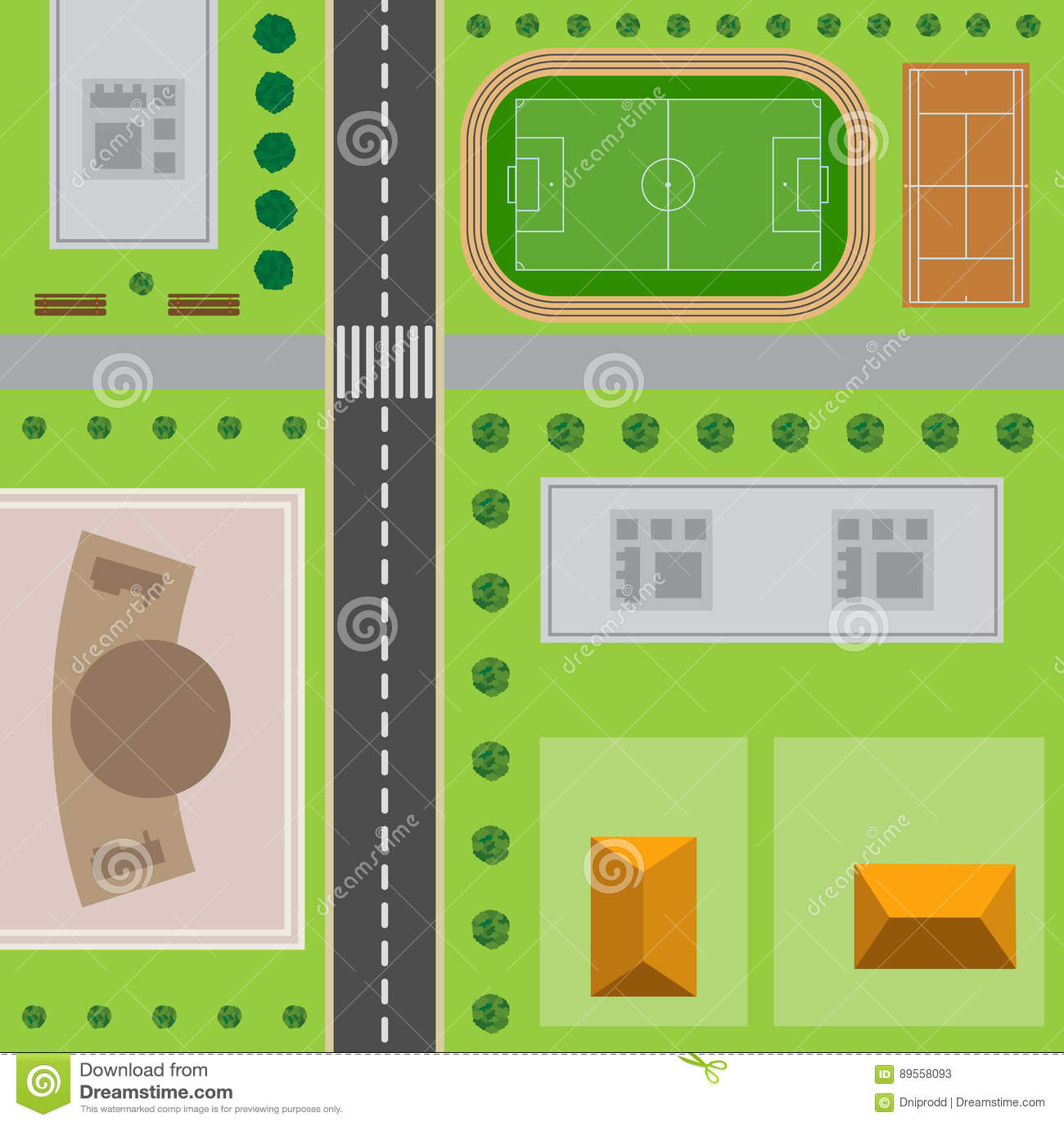 Plan av staden övre sikt för stad