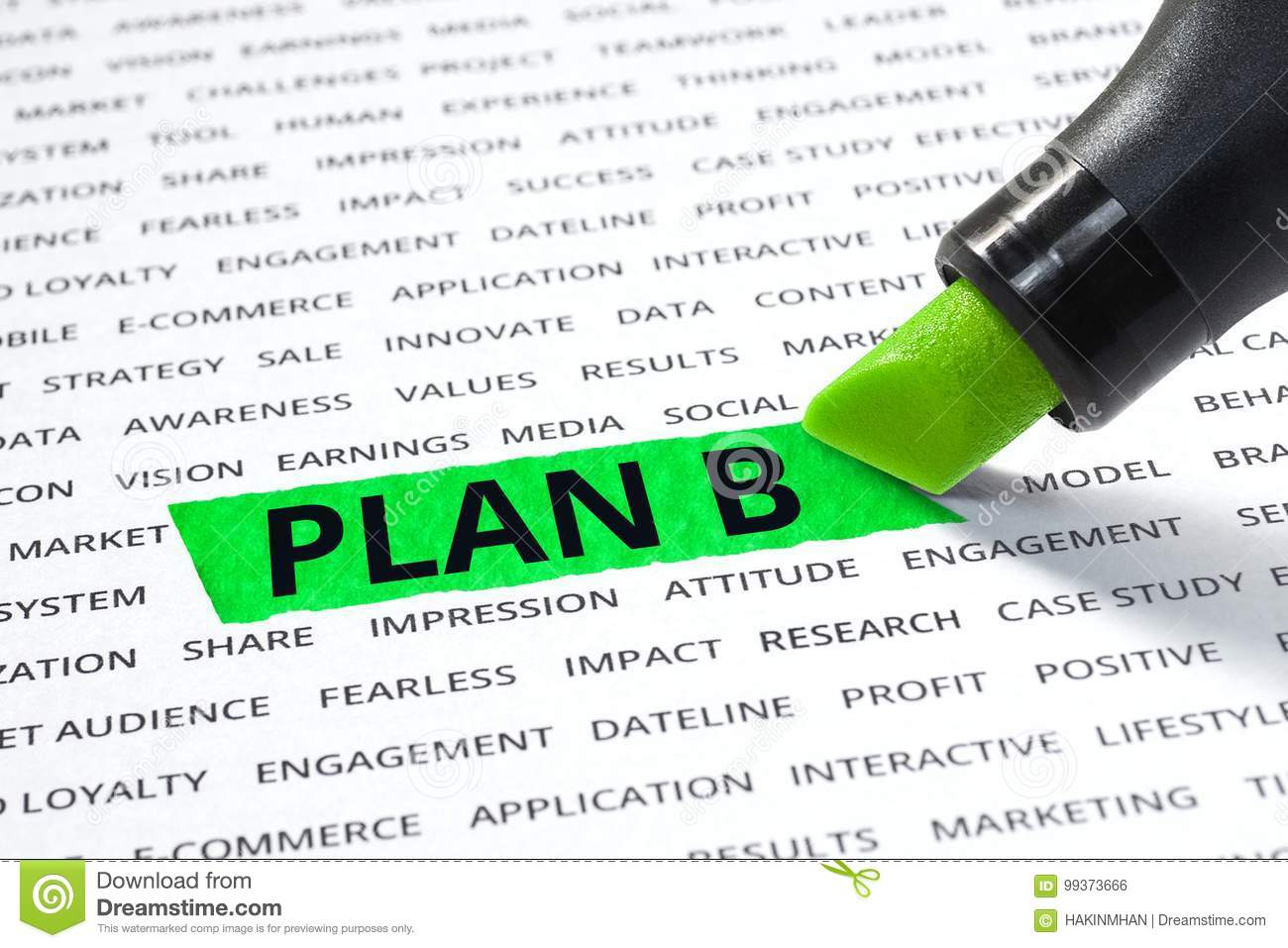 Plan B Word Highlighted With Marker On Paper Of Other Word Stock