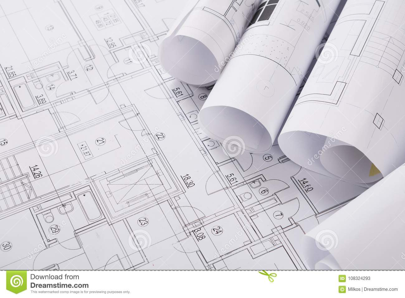 Plan Of Building Architectural Project Background Stock Image