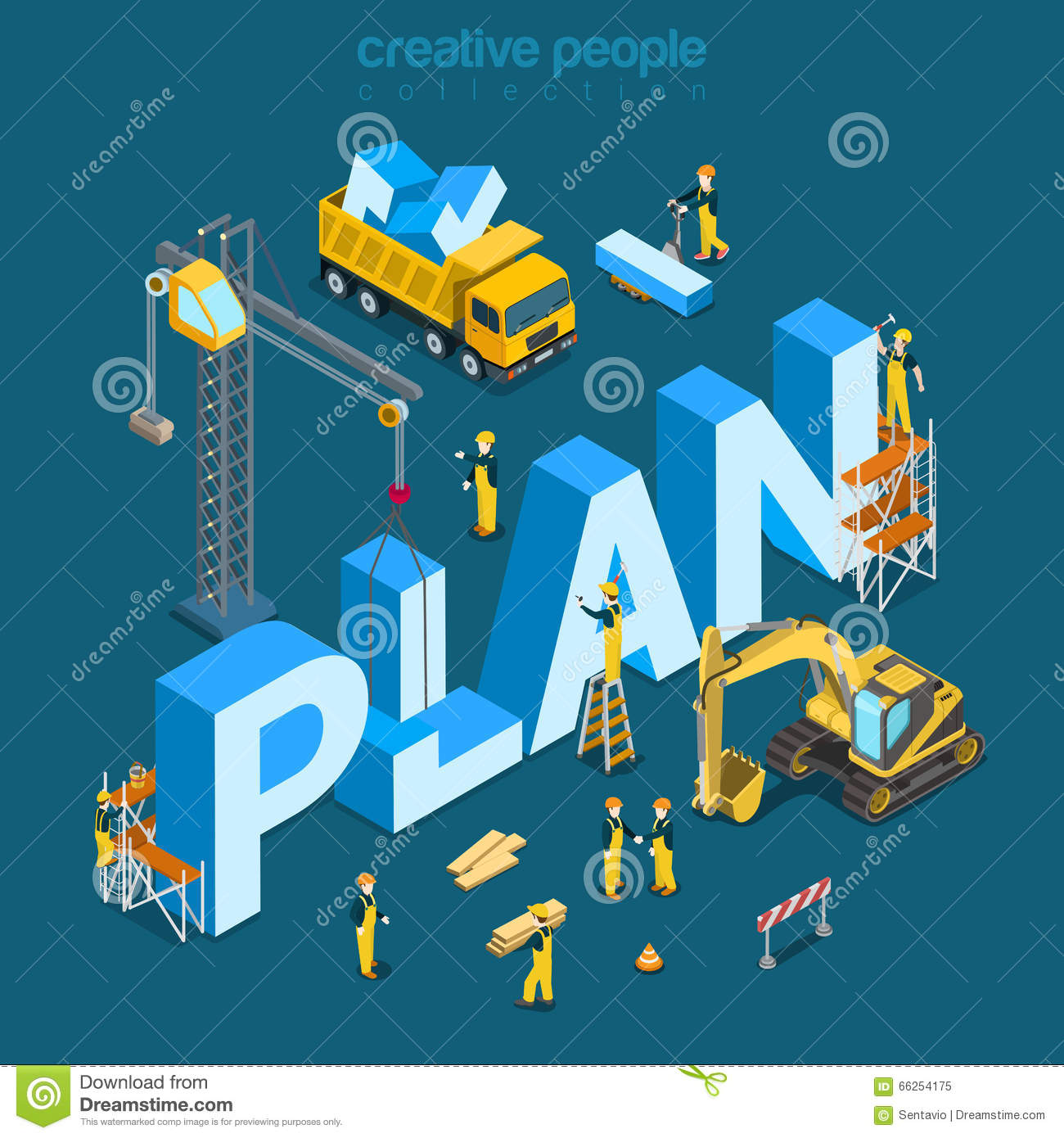 Plan Creation Construction Building Word Flat 3d Isometric