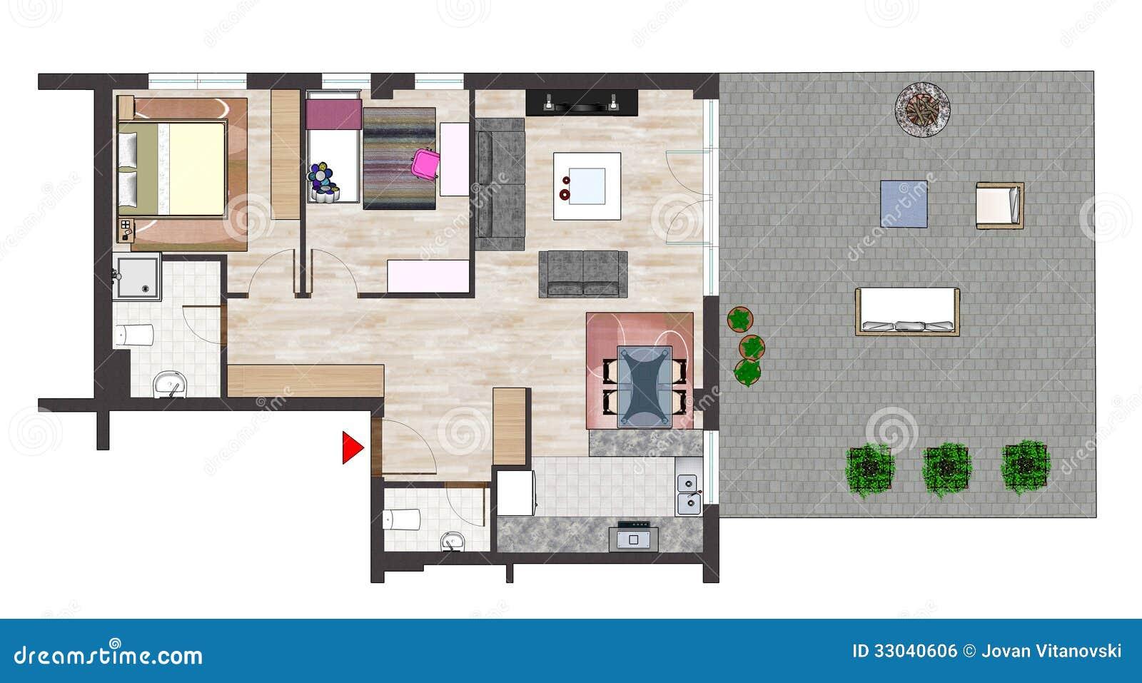 Plan d 39 tage la maison image libre de droits image for Agencement de maison de plan libre