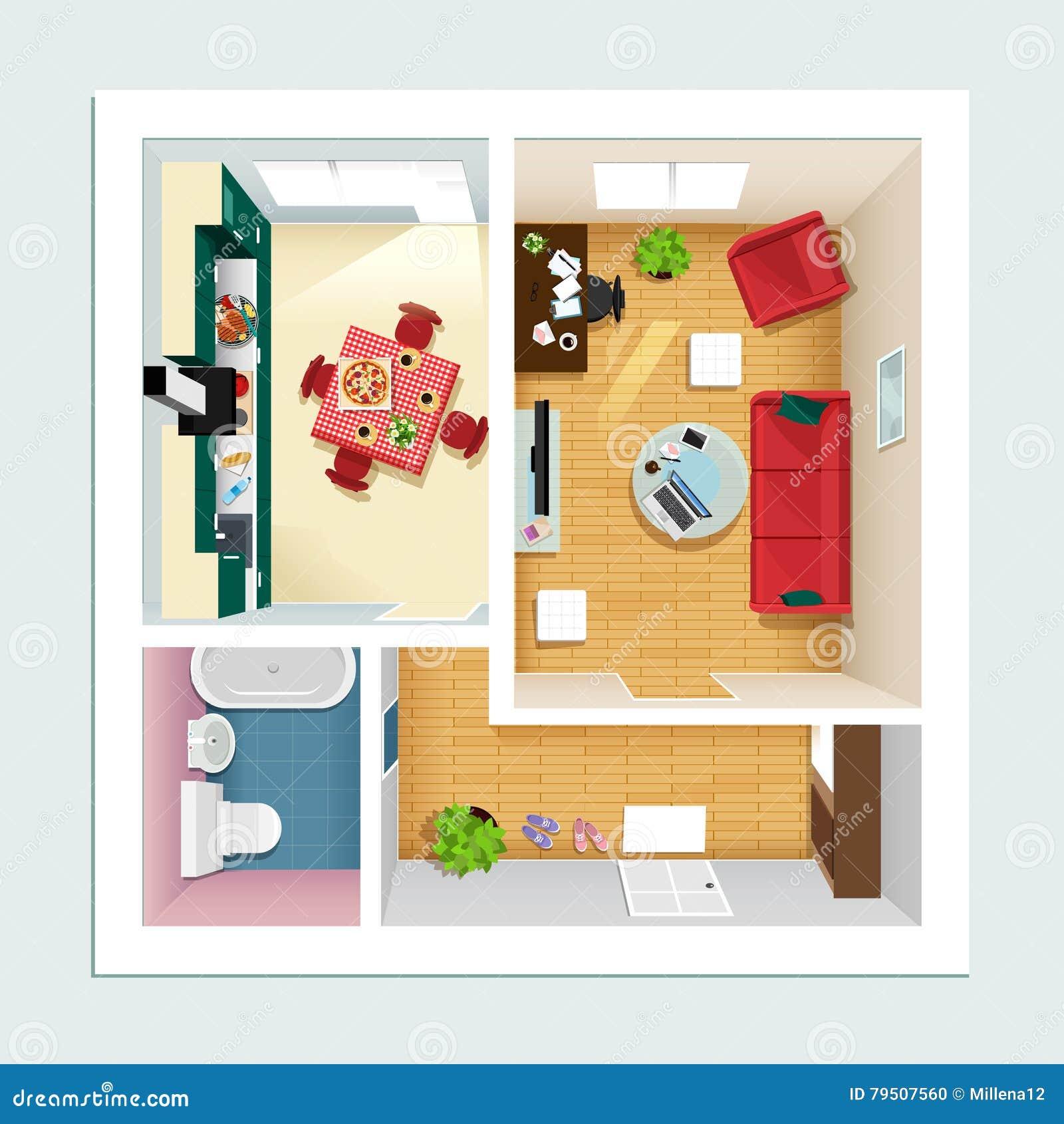 Cuisine pour appartement amazing du gris et un mur en for Porte salle a manger pour petite cuisine Équipée