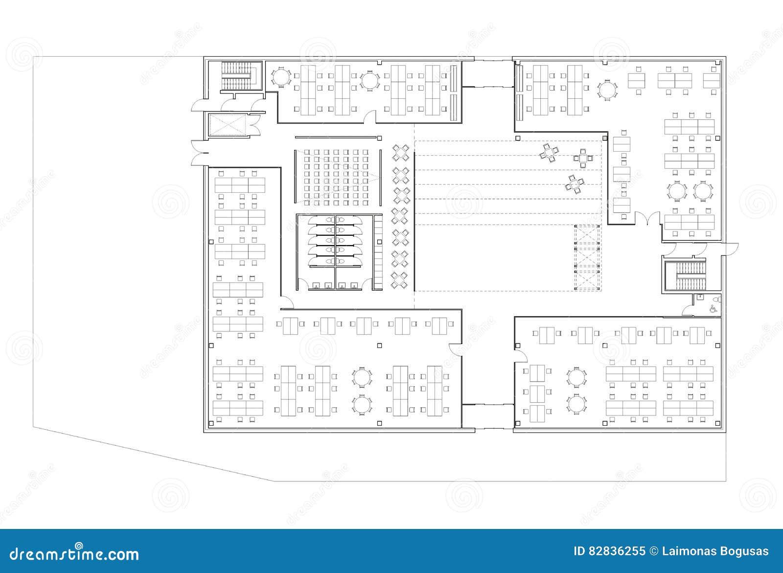 Plan d étage de l immeuble de bureaux illustration stock