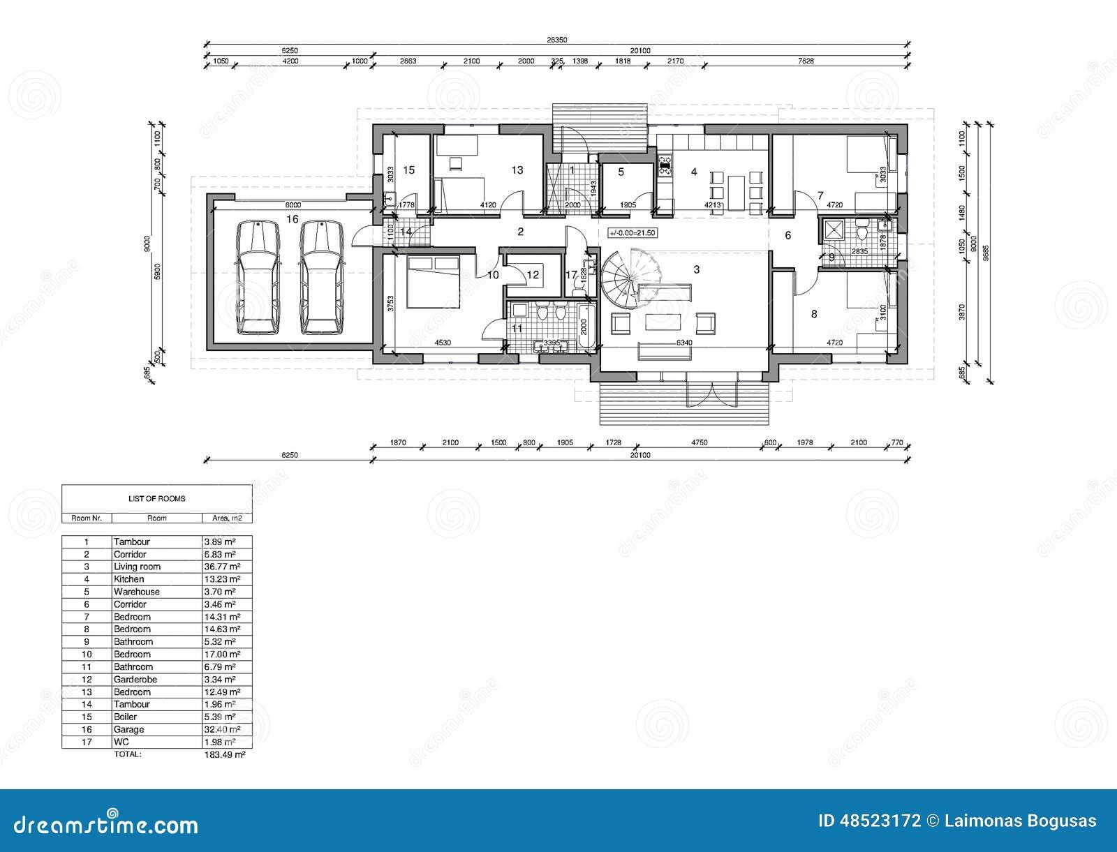 Plan d 39 tage de la maison unifamiliale illustration stock for Piani di una casa a un piano senza garage