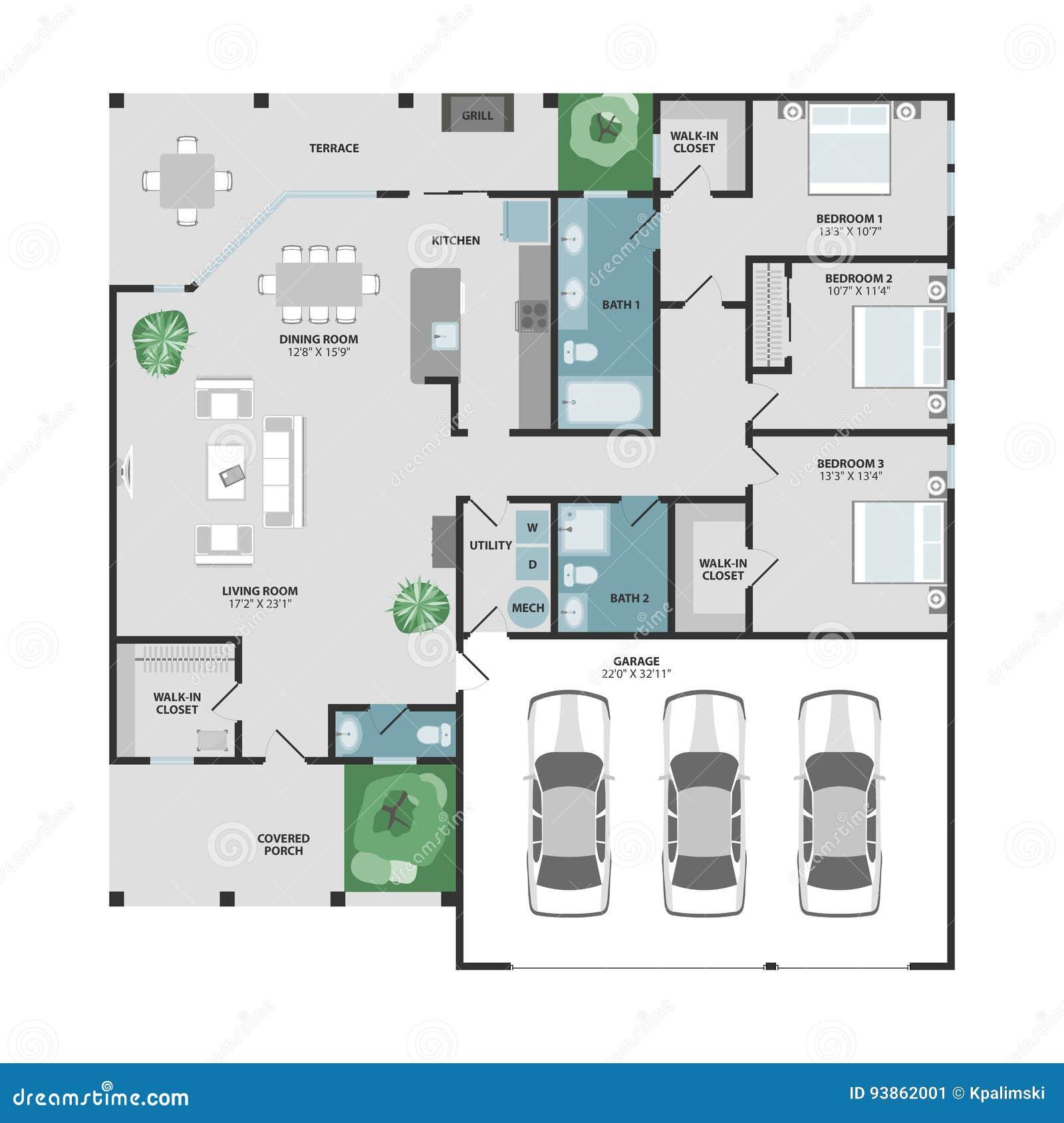 Plan d étage de vecteur d une maison