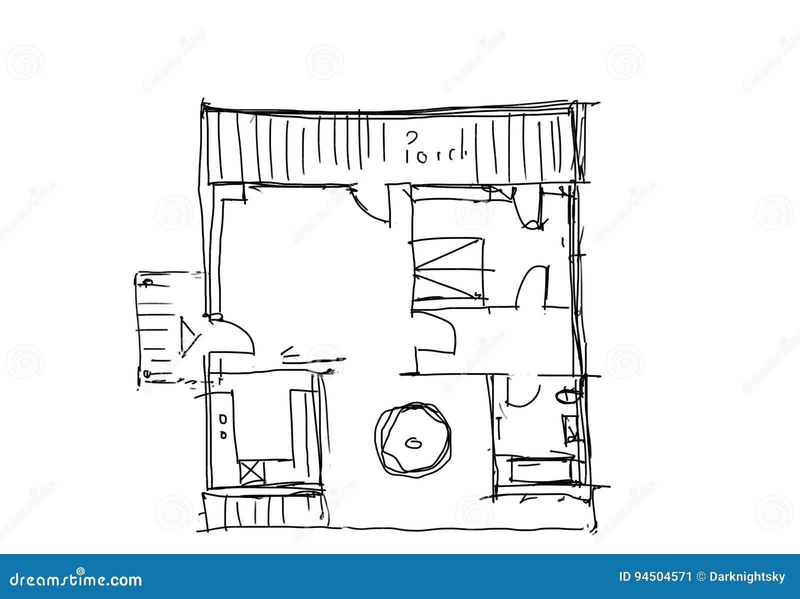 Plan D Etage Individuel D Une Maison Illustration Stock Illustration Du Individuel Plan 94504571