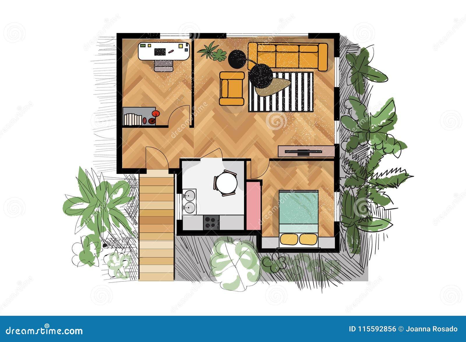 Plan D Etage Rendu Illustration De Vecteur Illustration De