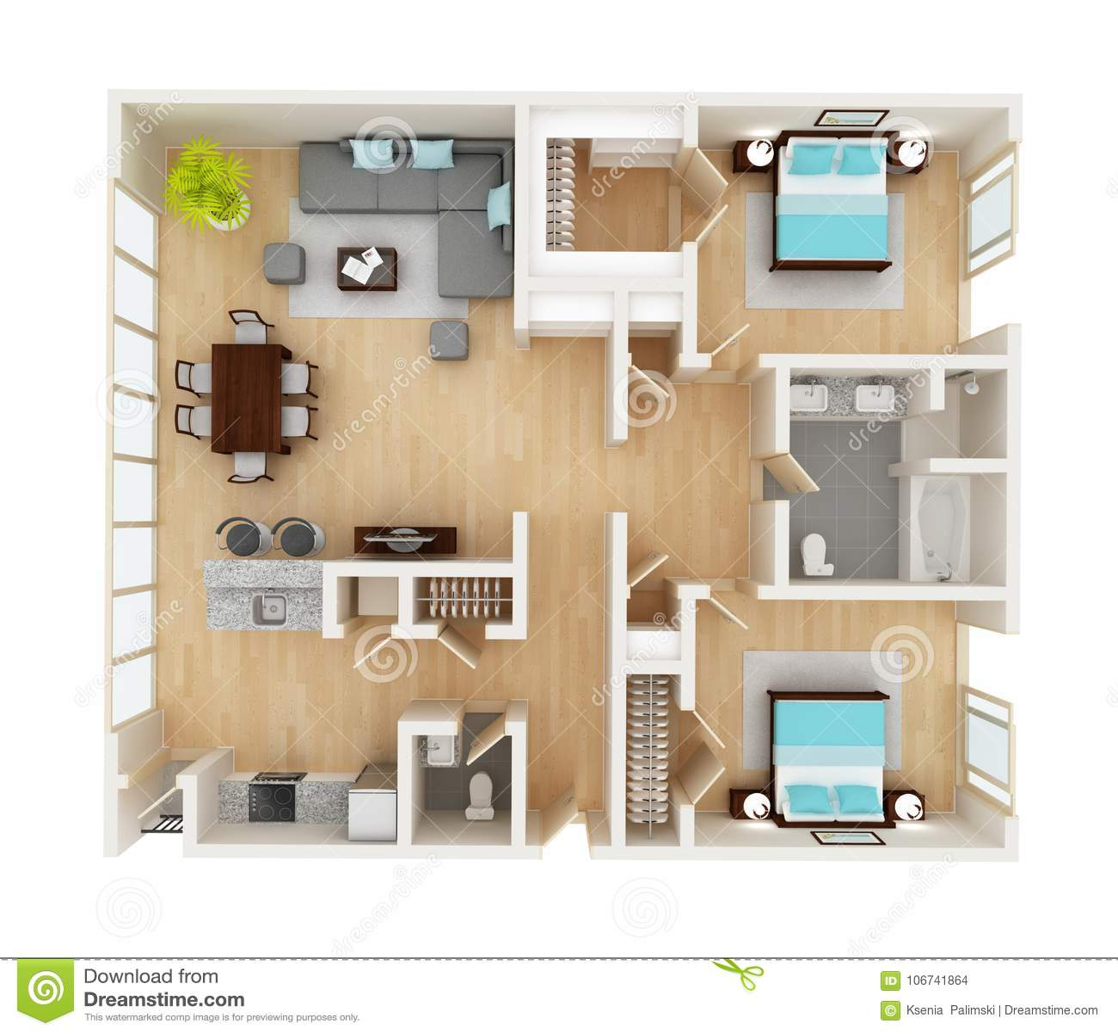 Plan D'étage D'une Vue Supérieure De Maison Illustration