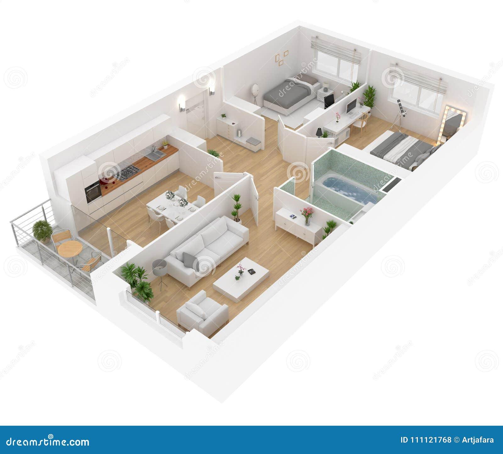 Plan d étage d une vue supérieure de maison Ouvrez la disposition vivante d appartement de concept