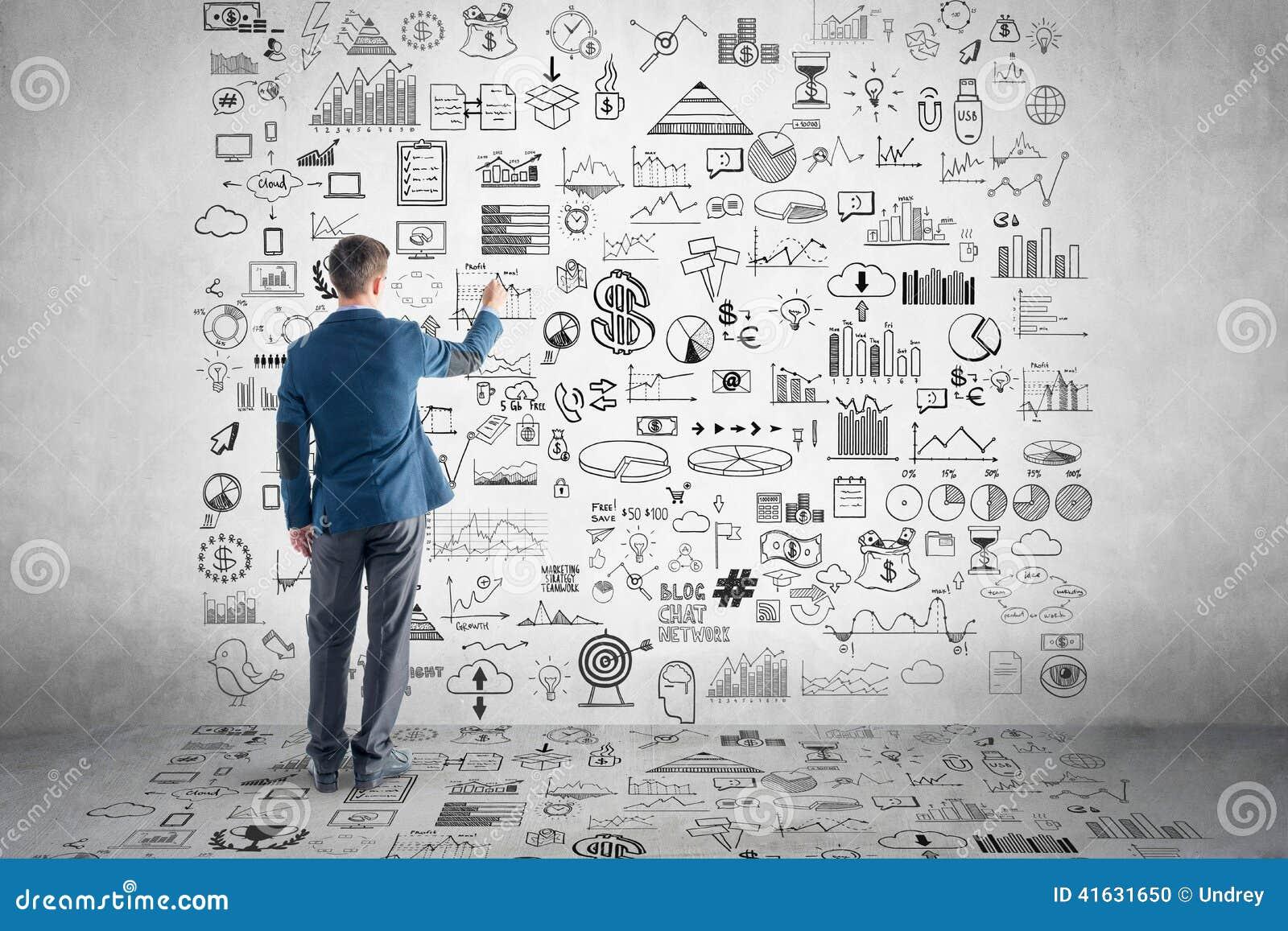 Plan d 39 action de dessin d 39 homme d 39 affaires graphique for Dessin plan