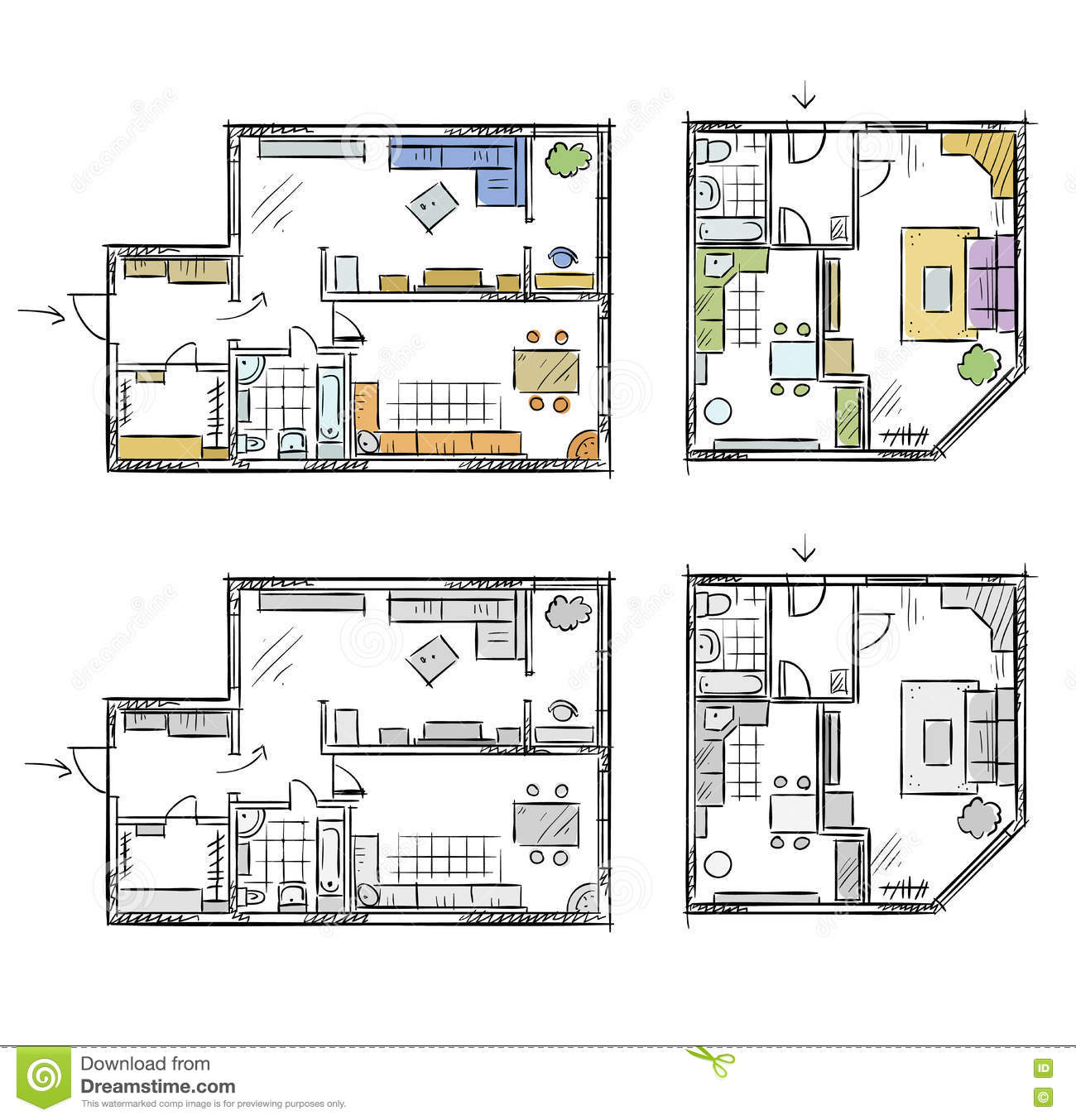 plan d 39 appartement avec des meubles croquis de vecteur illustration de vecteur image 73147210. Black Bedroom Furniture Sets. Home Design Ideas