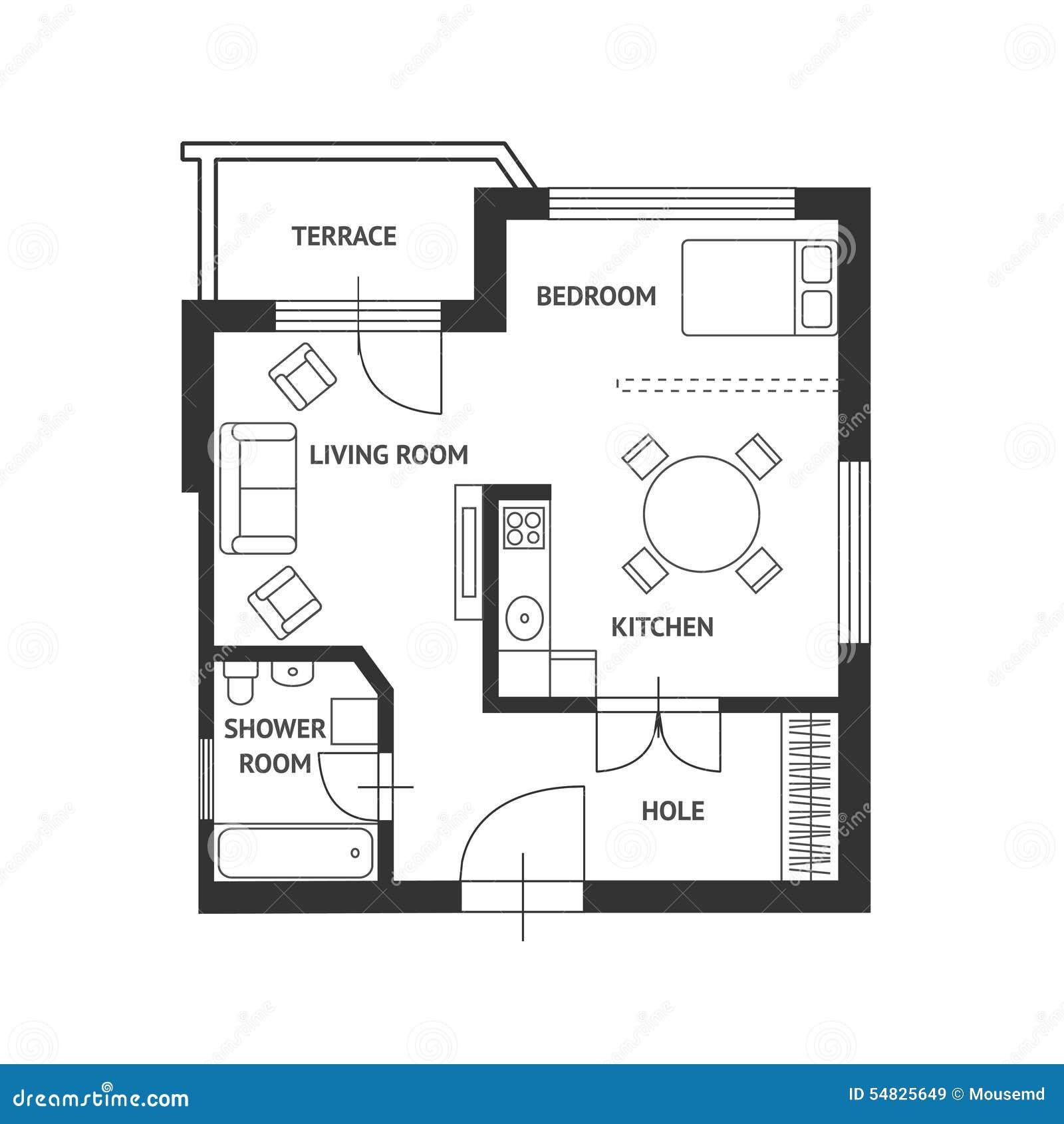 Plan D Architecte De Vecteur Avec Des Meubles Plats Illustration  # Plan Des Meubles