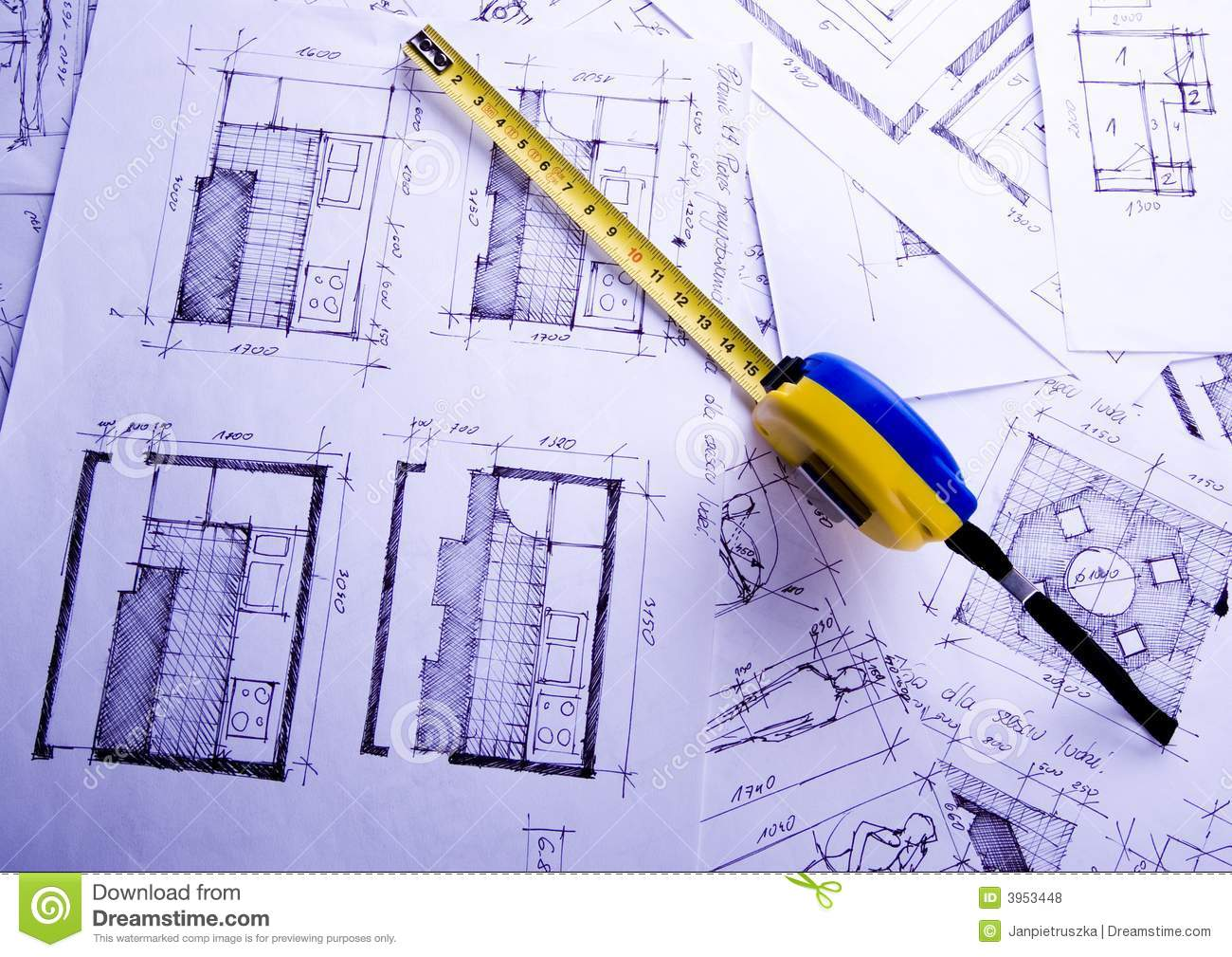 Plan d 39 architecture photo stock image du maison tableau for Architecture de plan libre